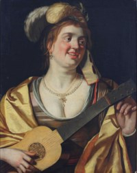 A lady with a mask tuning a guitar