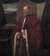 Portrait of a Venetian Senator, three-quarter length, in a red ermine-lined robe standing by a window with a mountainous landscape beyond