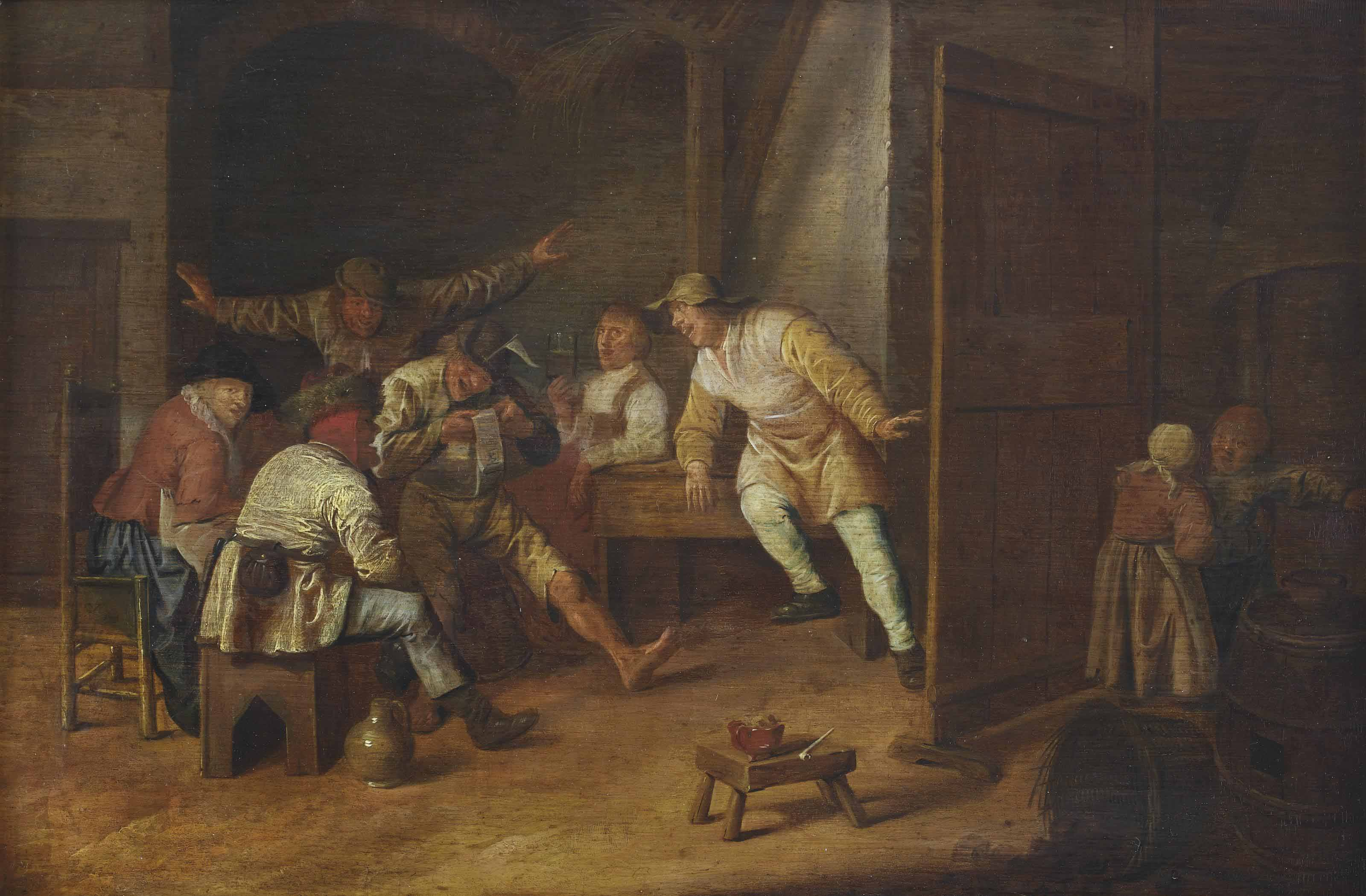 An interior with a merry company of peasants