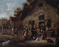 Peasants outside a farmhouse listening to a group of musicians