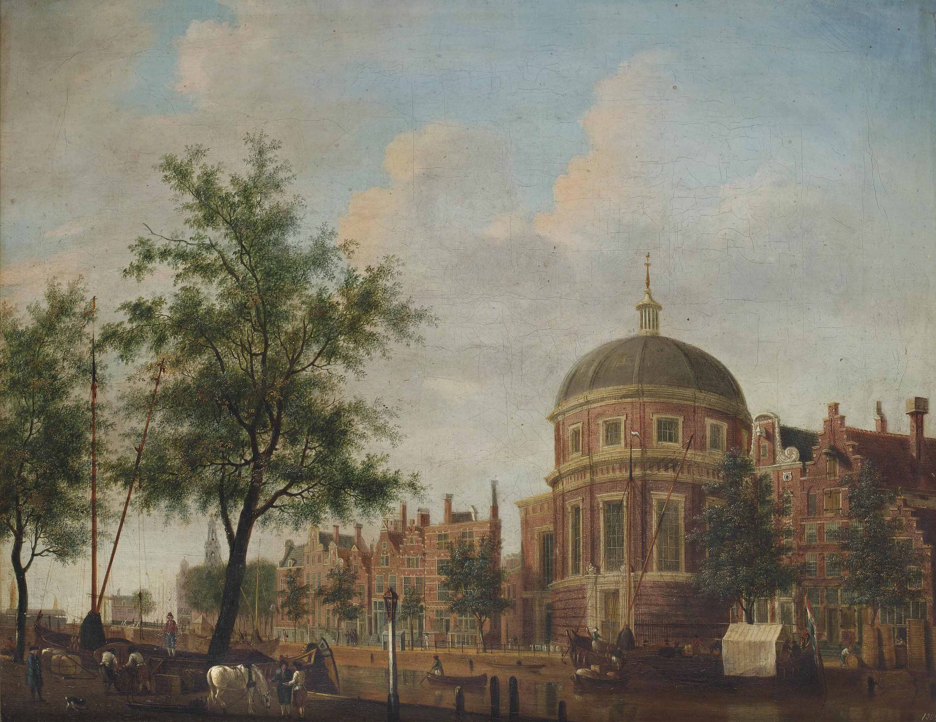 View of the Lutherse Kerk, Amsterdam, with the Singel in the foreground