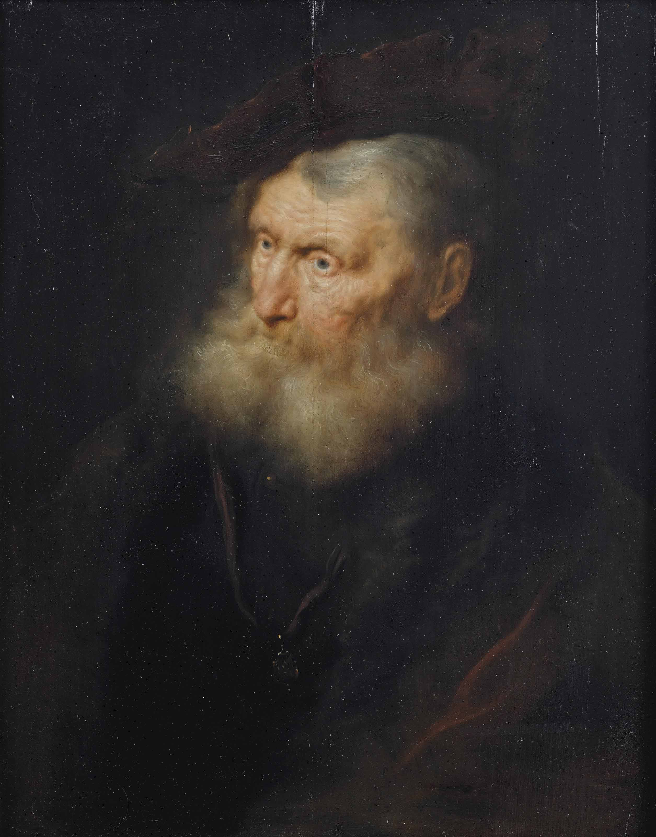 Portrait of an old man, bust-length, in a fur lined coat with a small pendant, and a velvet barrett
