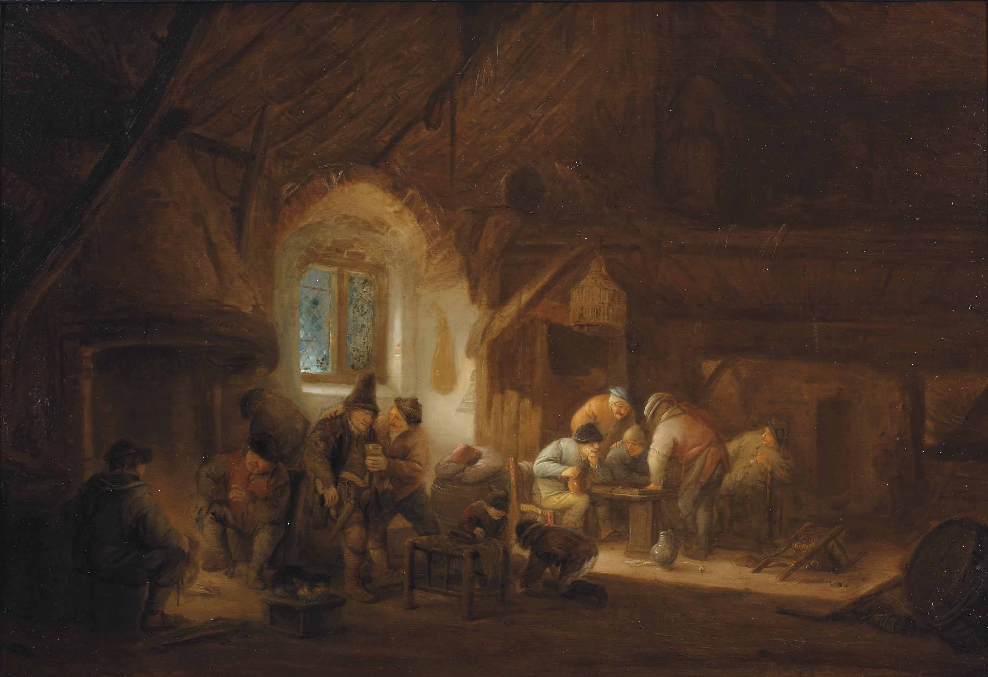 A barn interior with peasants conversing by a fire place, drinking and playing backgammon