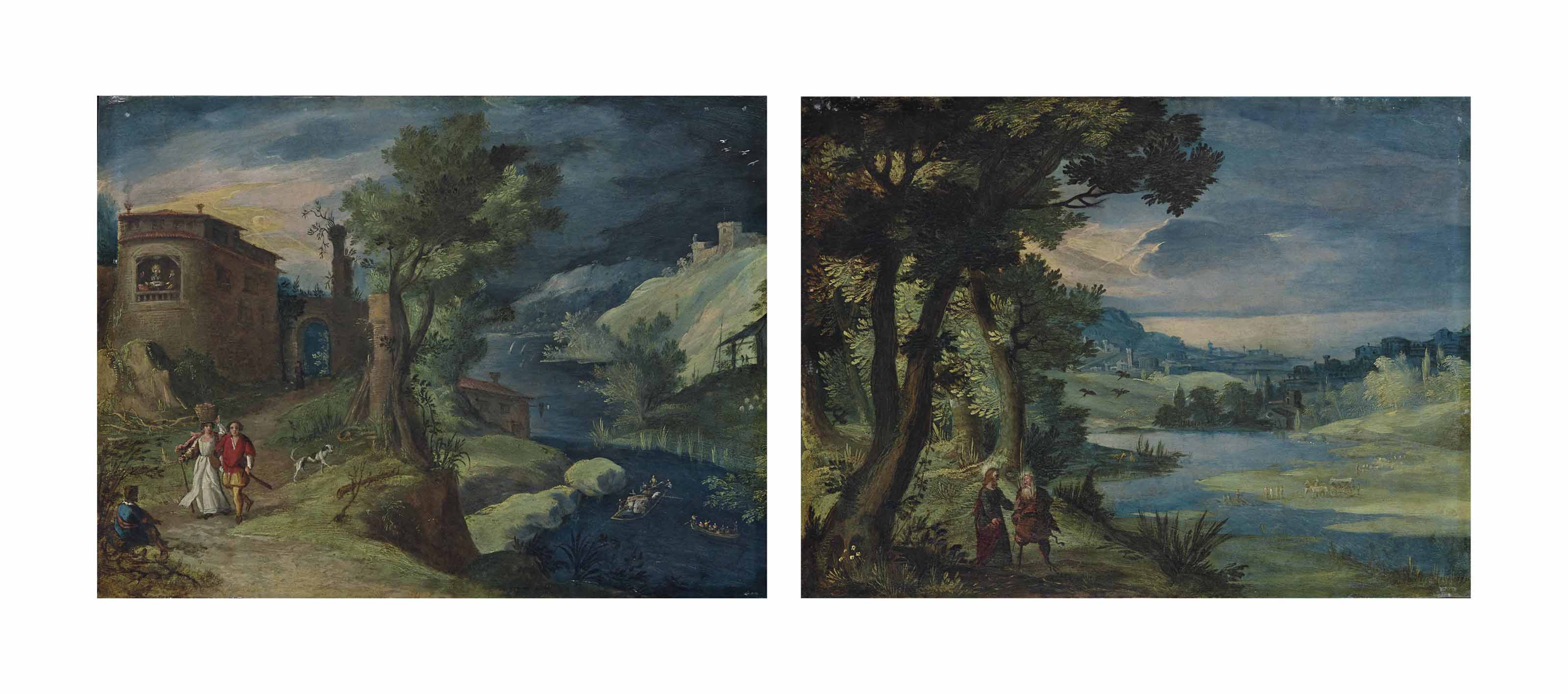 A river landscape with the Supper at Emmaus; and A river landscape with the Temptation of Christ