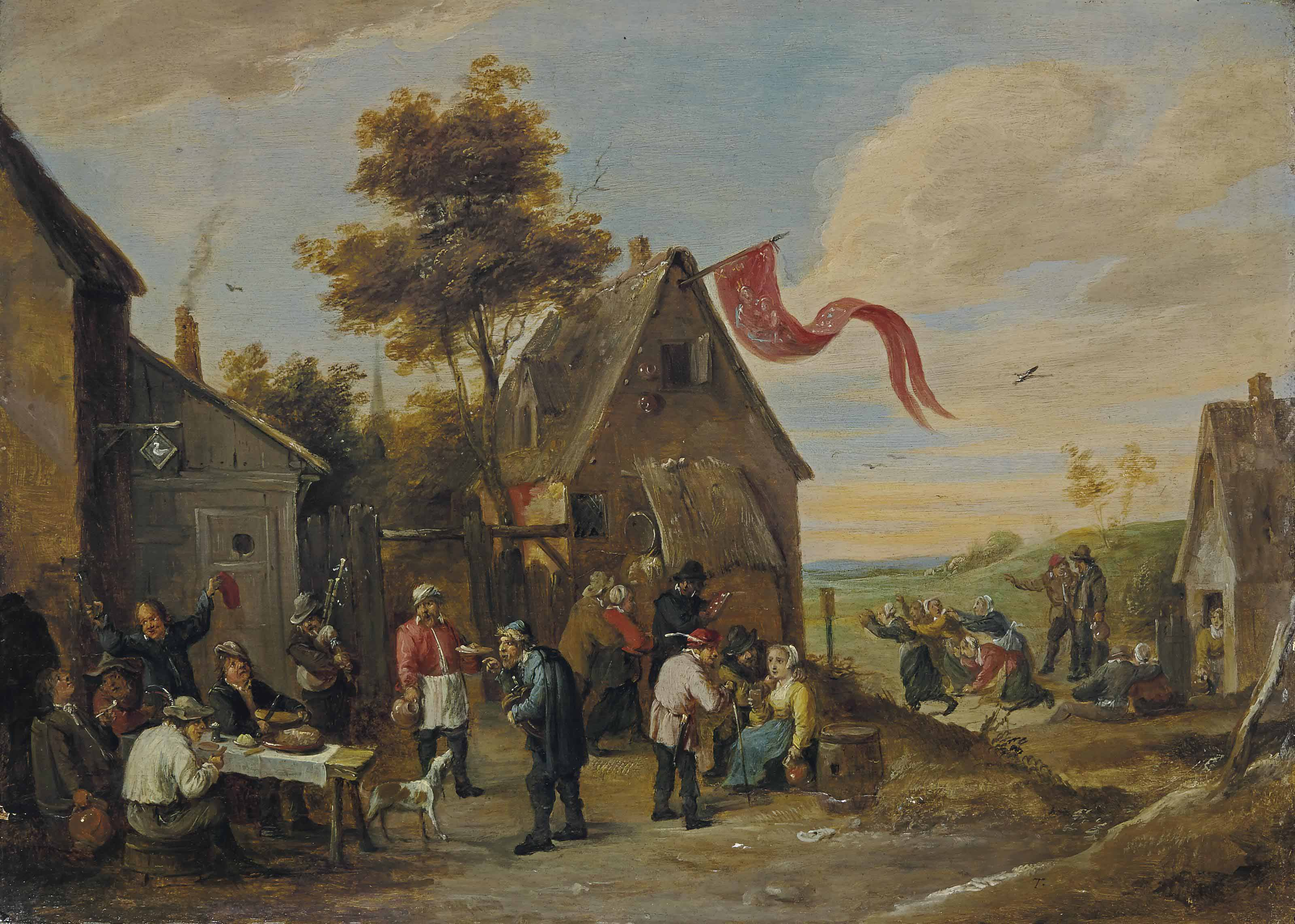 The Kermesse of Saint George with peasants feasting before an inn