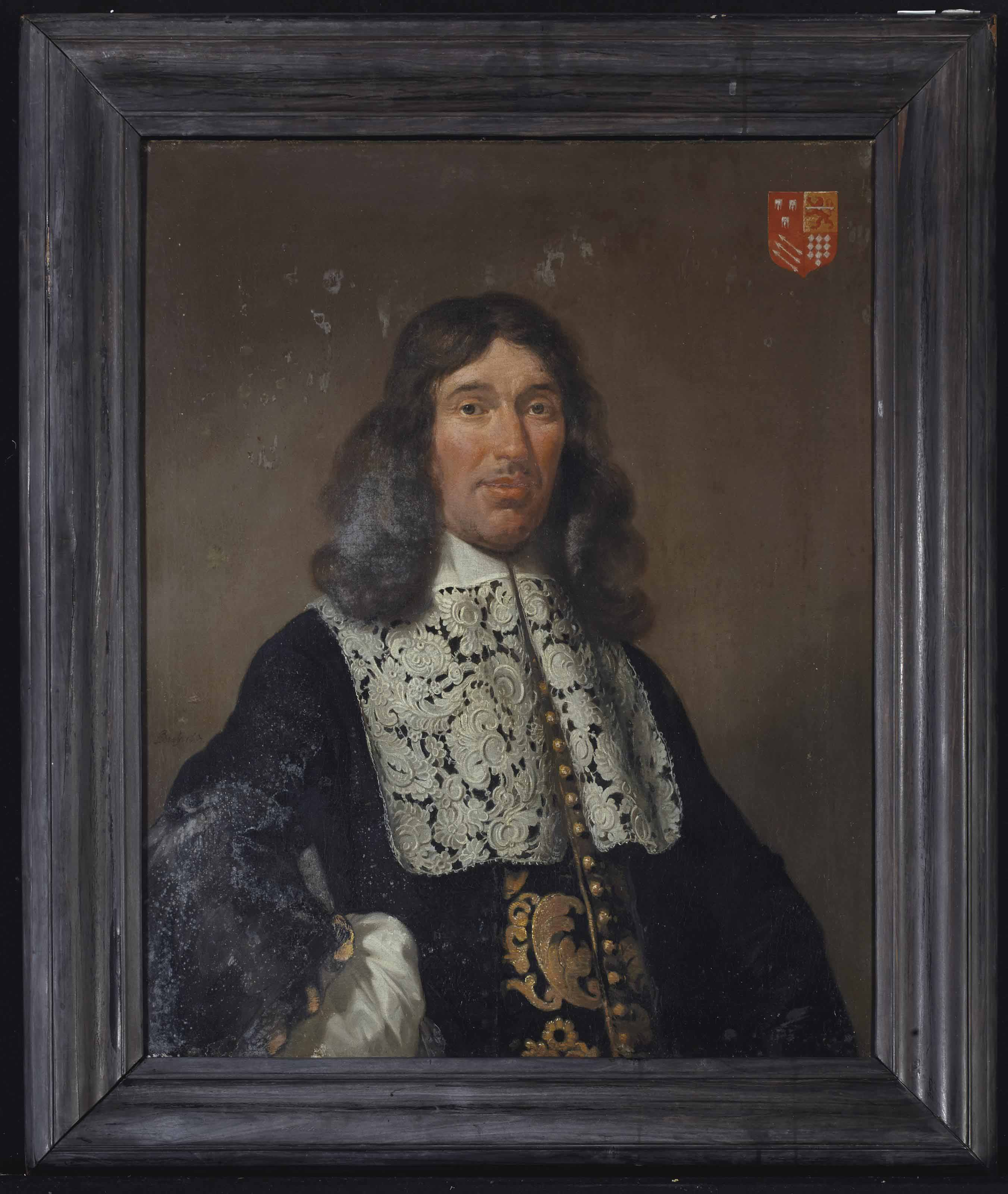 Portrait of Bartholomeus de Kies van Wissen (1614-1679), half-length, with arms akimbo, in a gold embroidered black costume, a white chemise and an elaborate lace collar