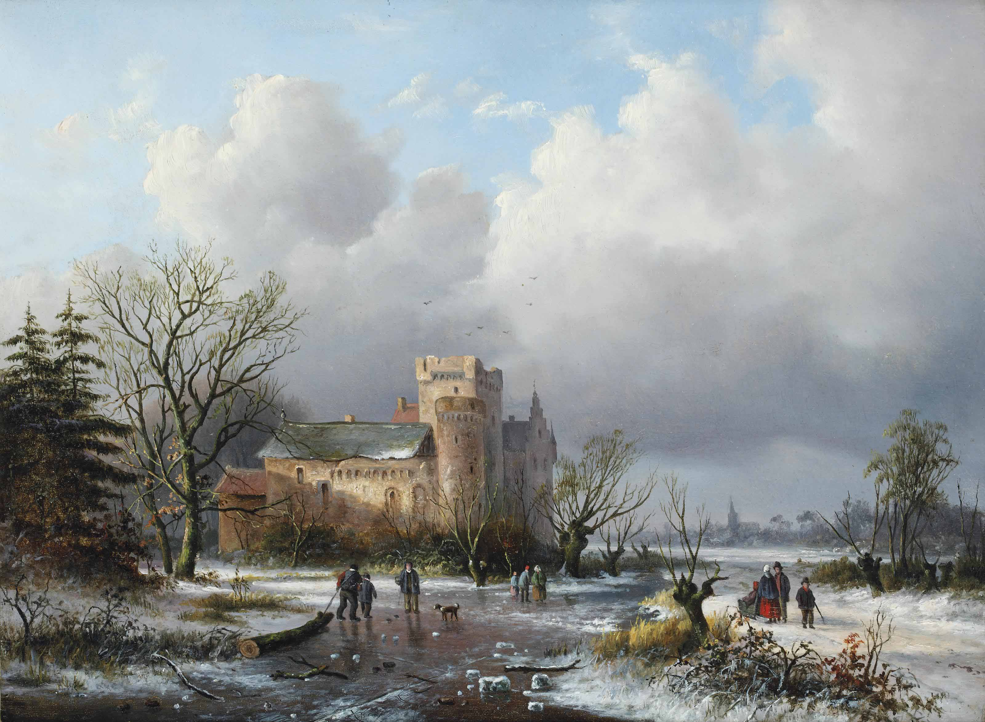 A winter landscape with figures on the ice near a castle