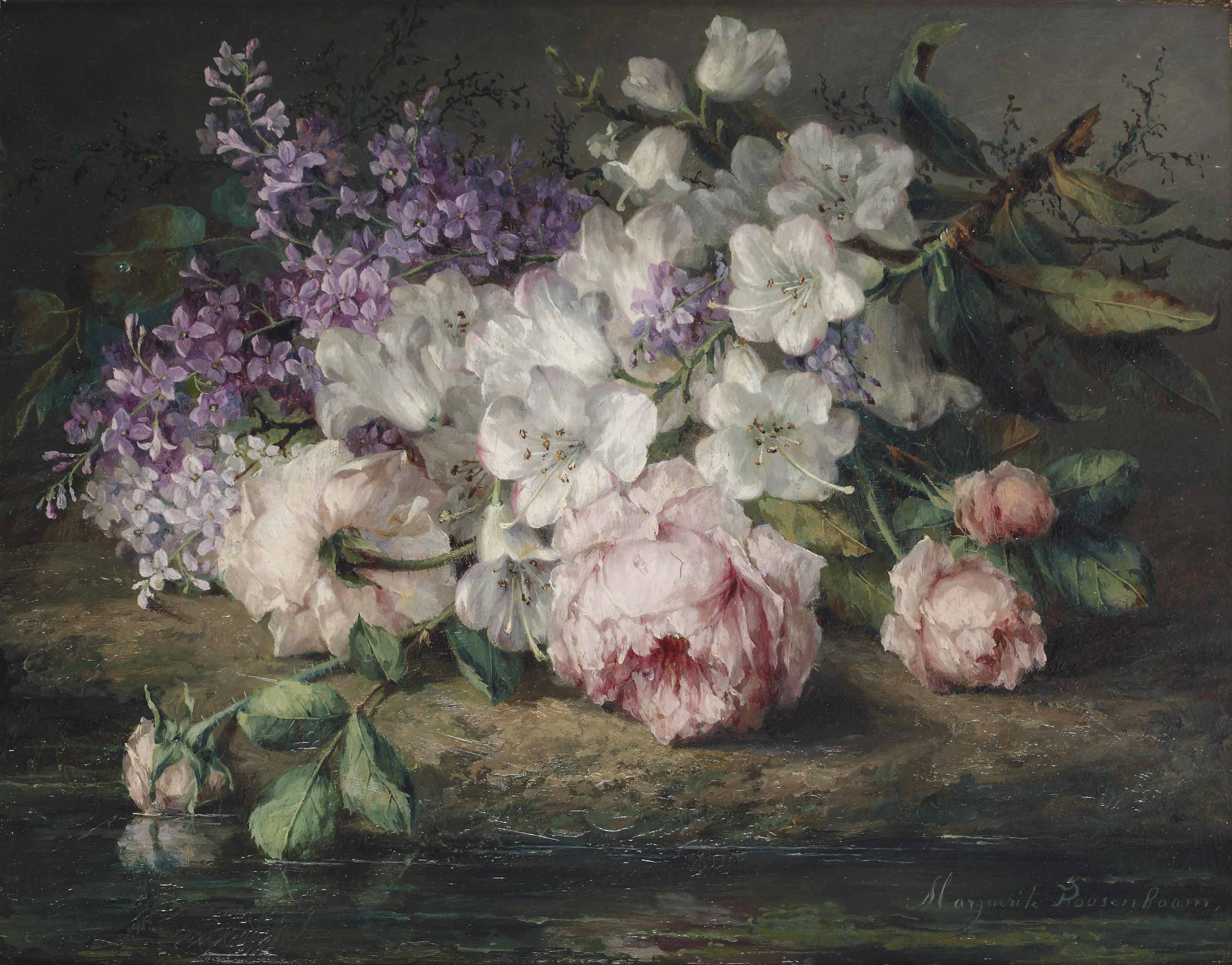 Roses, lilacs and white blossom branches