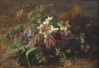 An autumn bouquet with violets on a forest floor
