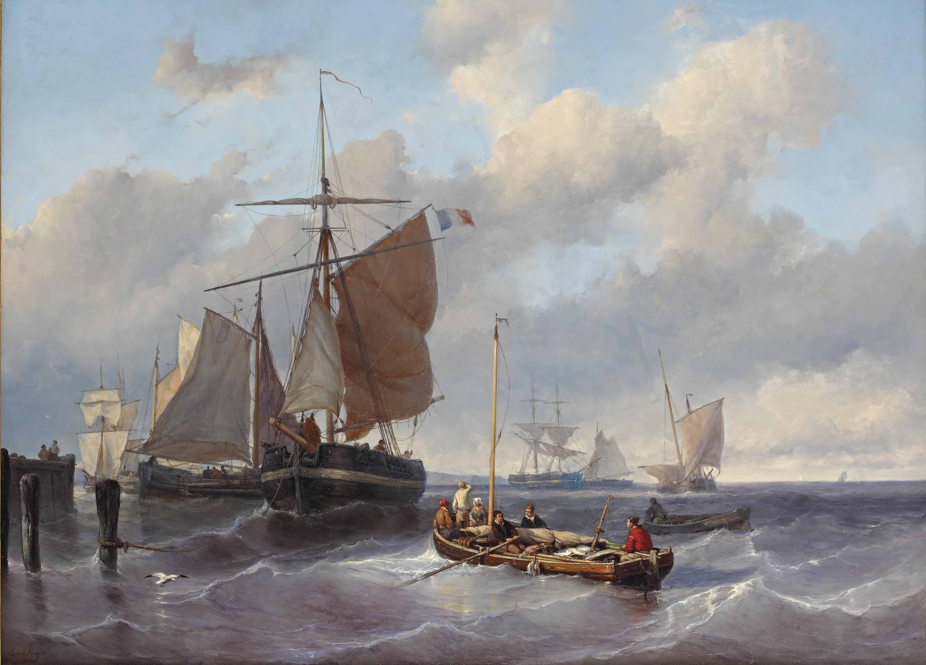 Sea scene with fishing boats