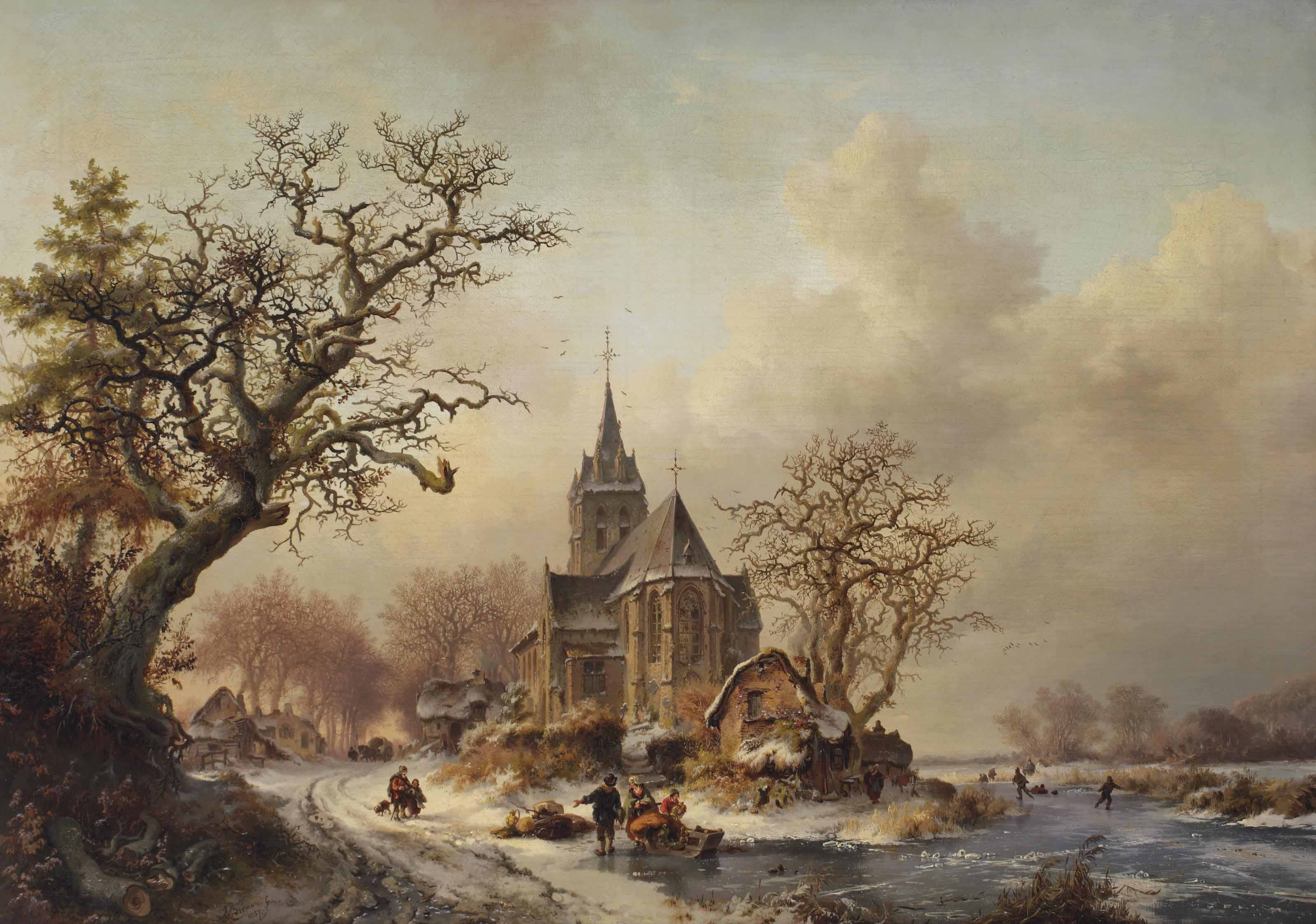 A winter landscape with activities around a village
