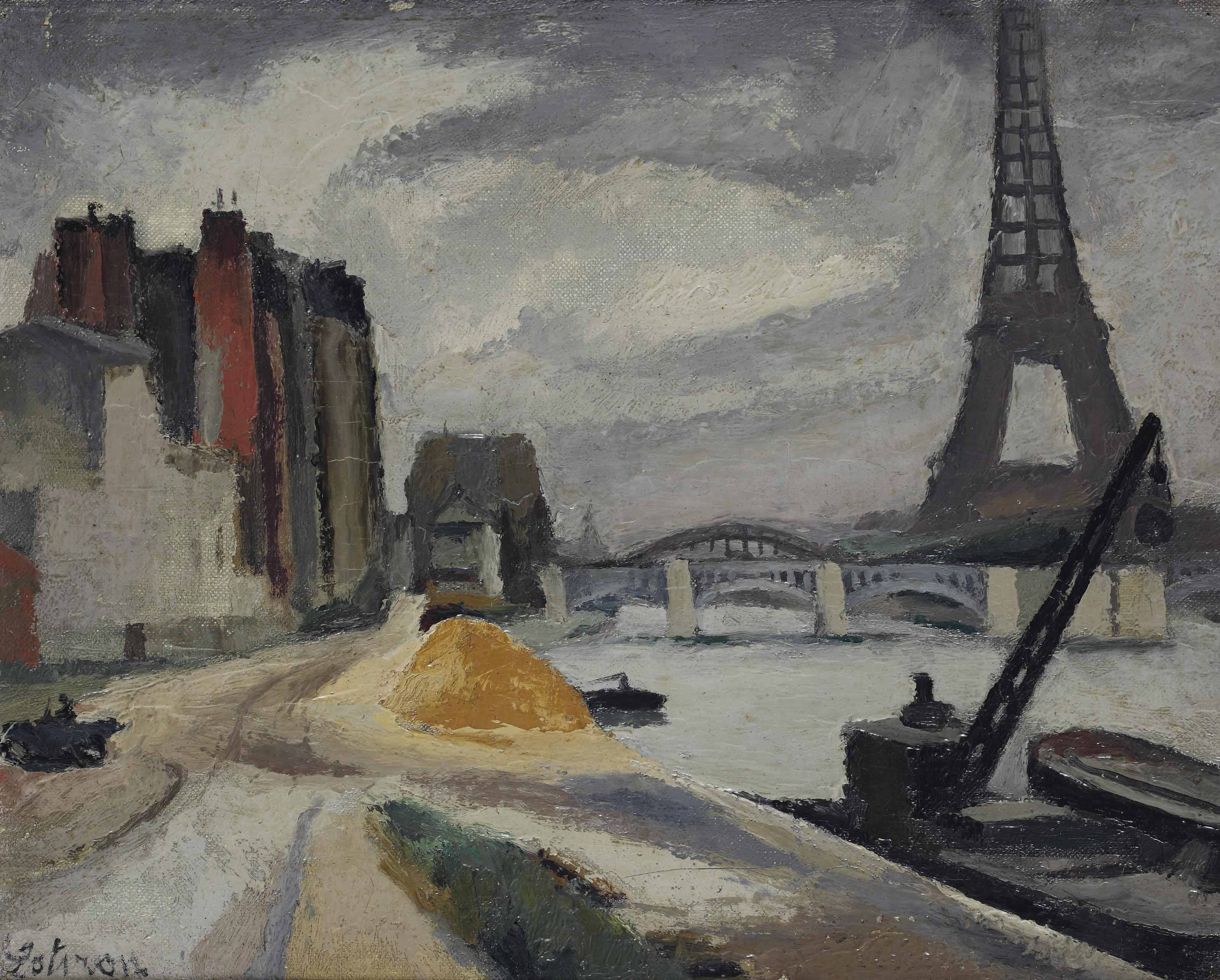 Along the Seine, the Eiffel tower beyond