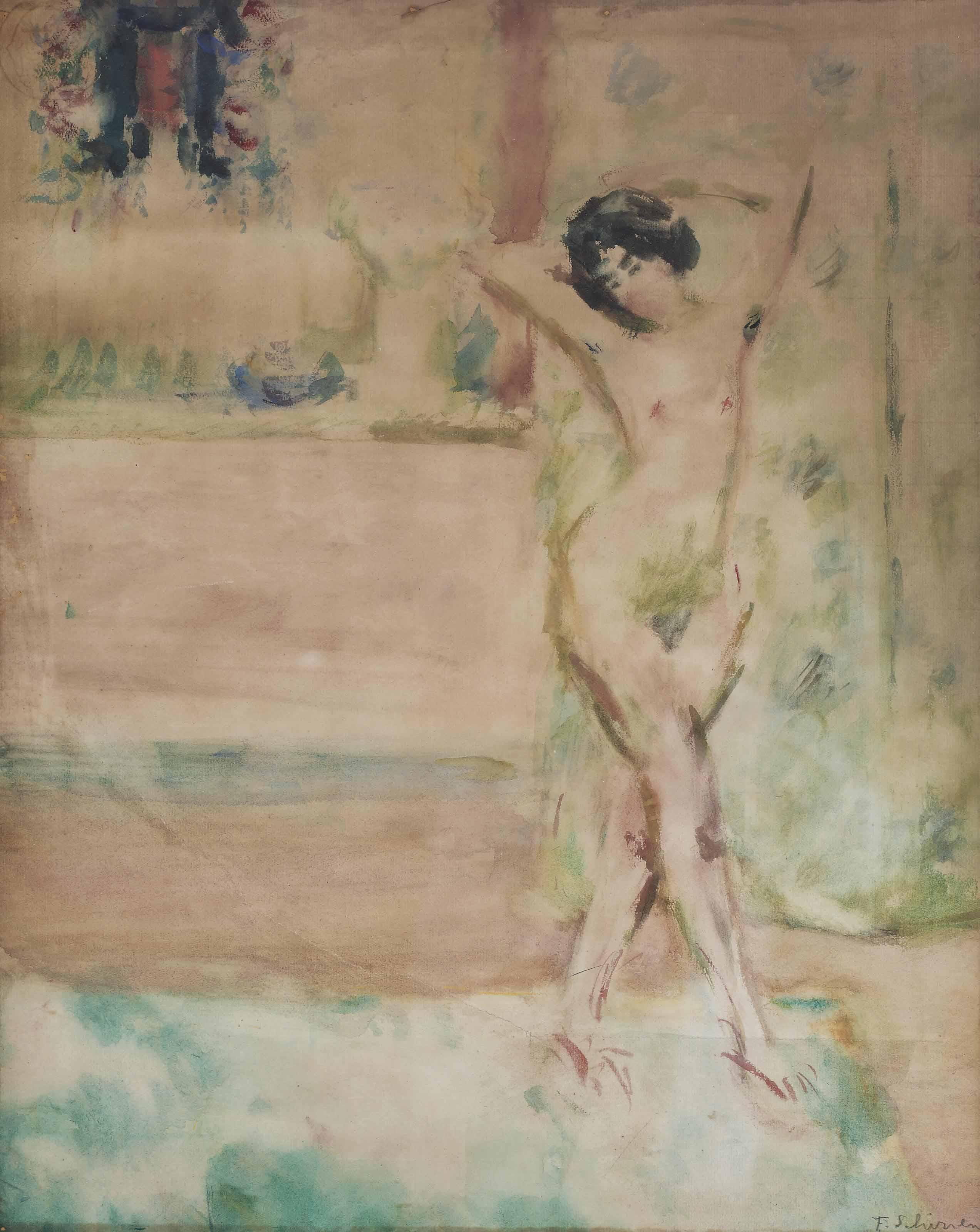 A posing nude