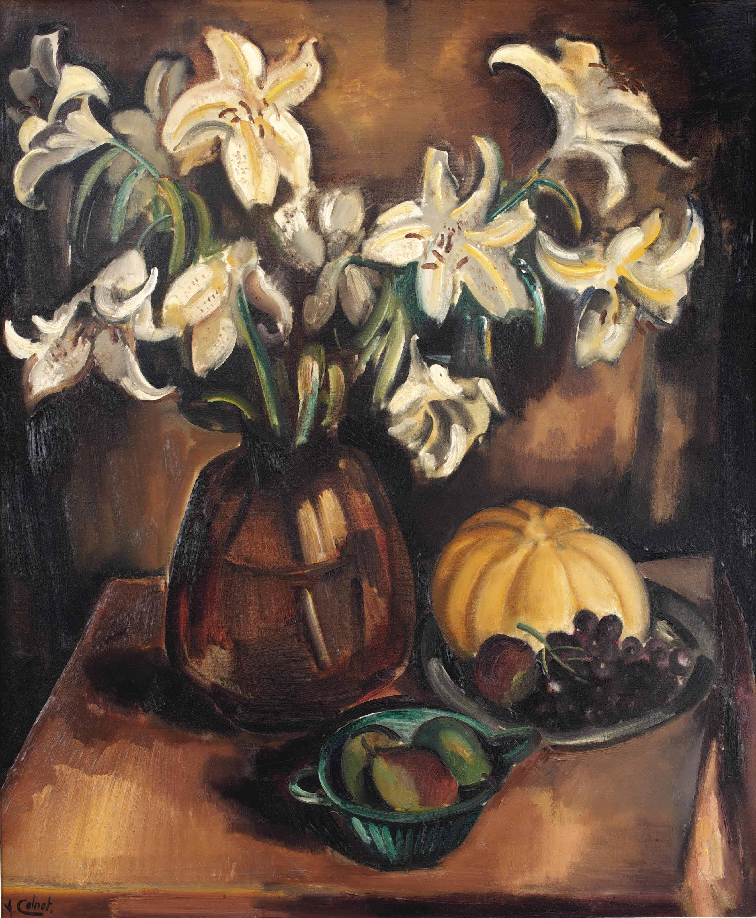 A still life with lilies, a pumpkin, grapes and pears