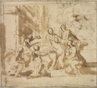 The Holy Family attended by angels (recto); A seated female figure, flanked by a putto (?) (verso, visible through the paper)