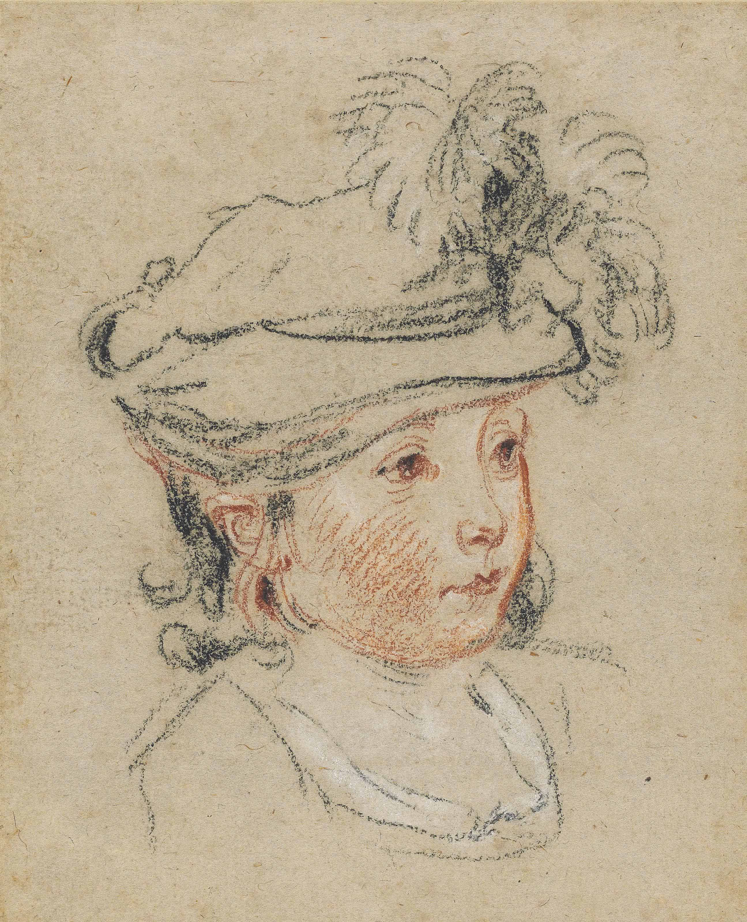 Head of a child in a feathered hat, looking to the right