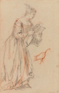 A woman holding a breastplate, with a subsidiary study of her hand holding it
