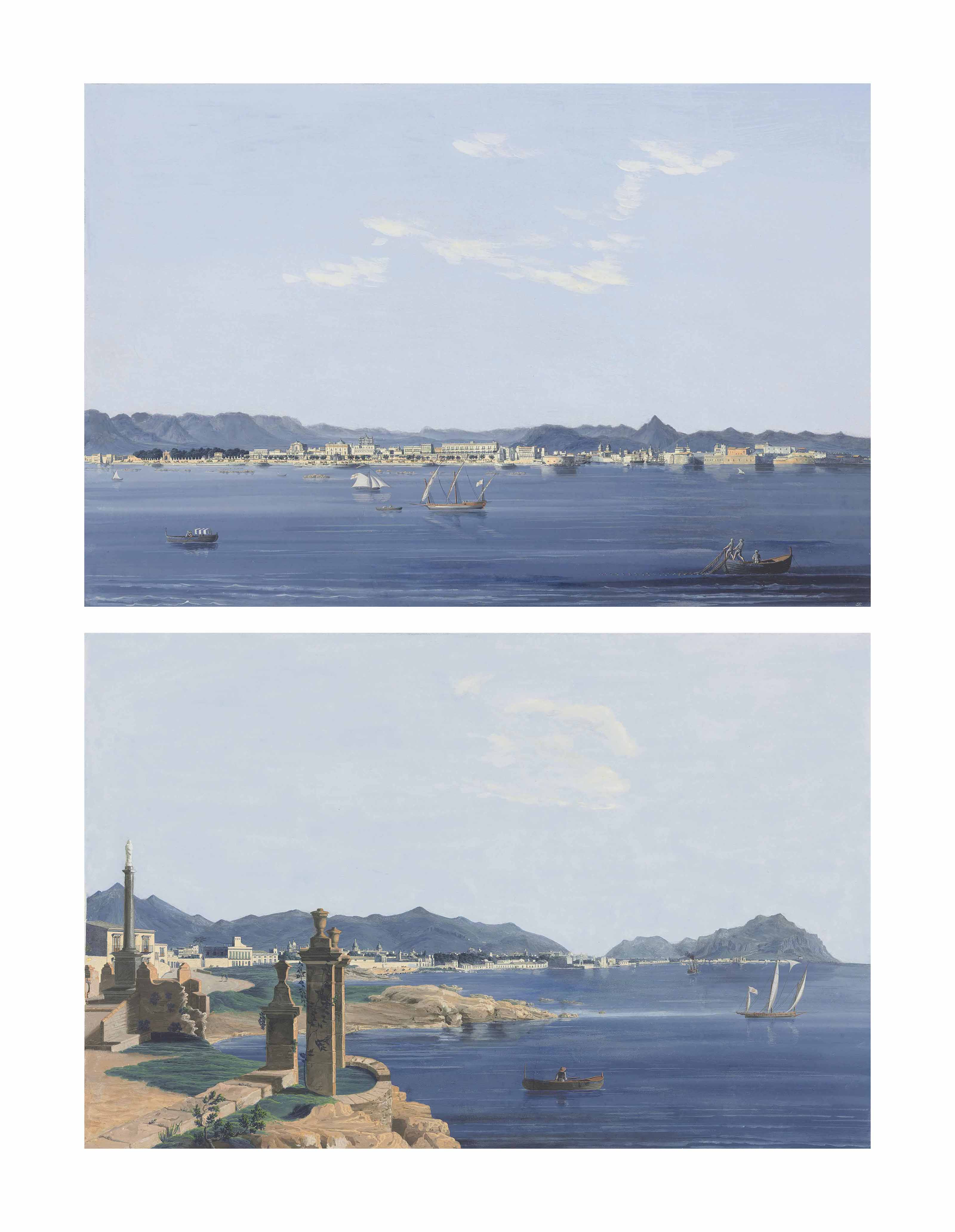 Sicilly: the bay of Palermo from the Romagnolo; and A view of Palermo from the sea with shipping, including an English vessel