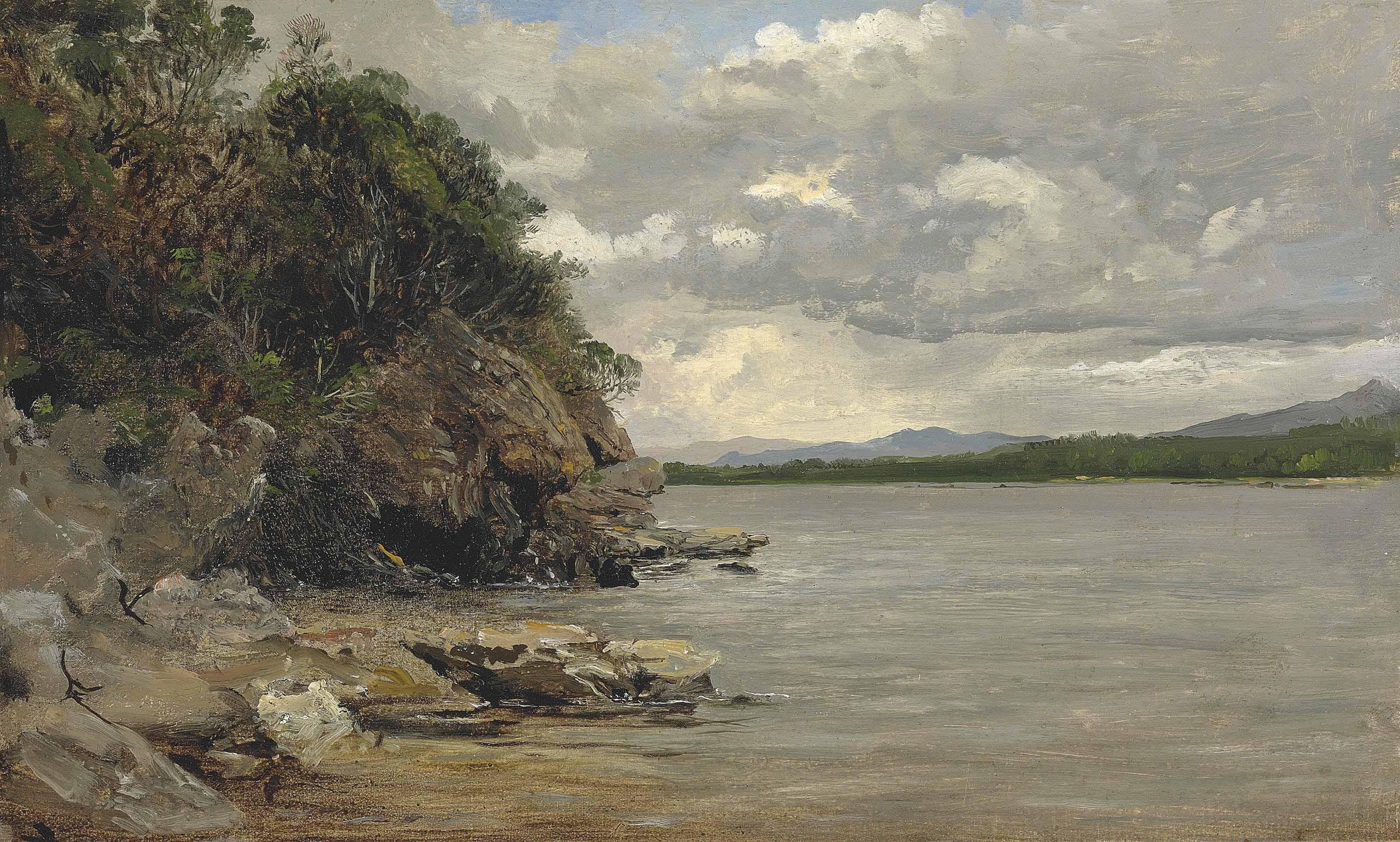 A rocky outcrop by a lake, Norway