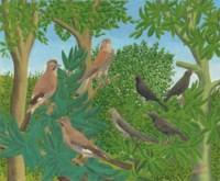 Sept oiseaux sur les branches