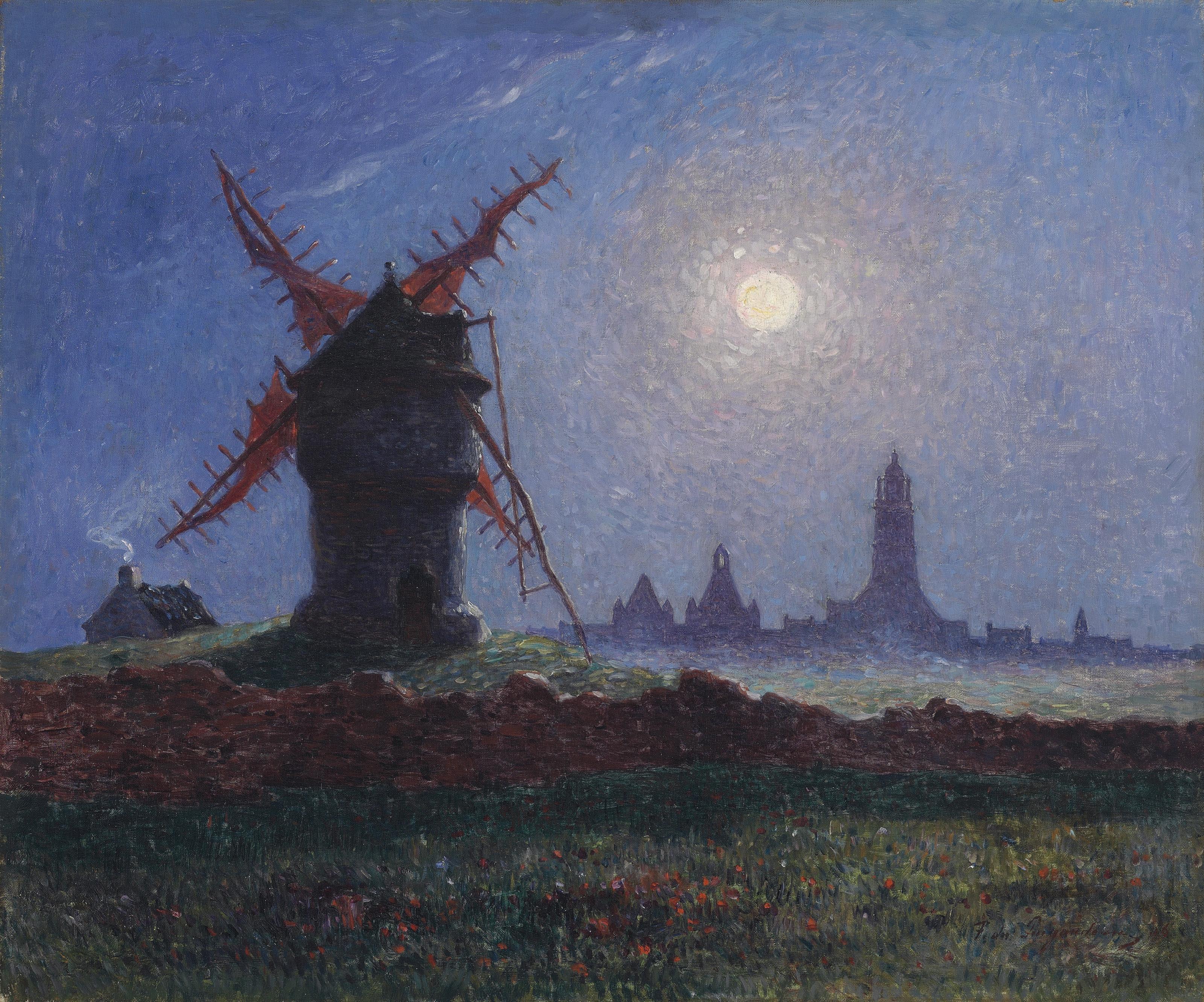 Moulin de la Masse au clair de lune (Bourg de Batz)