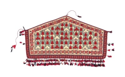 A PART-SILK TEKKE EMBROIDERED