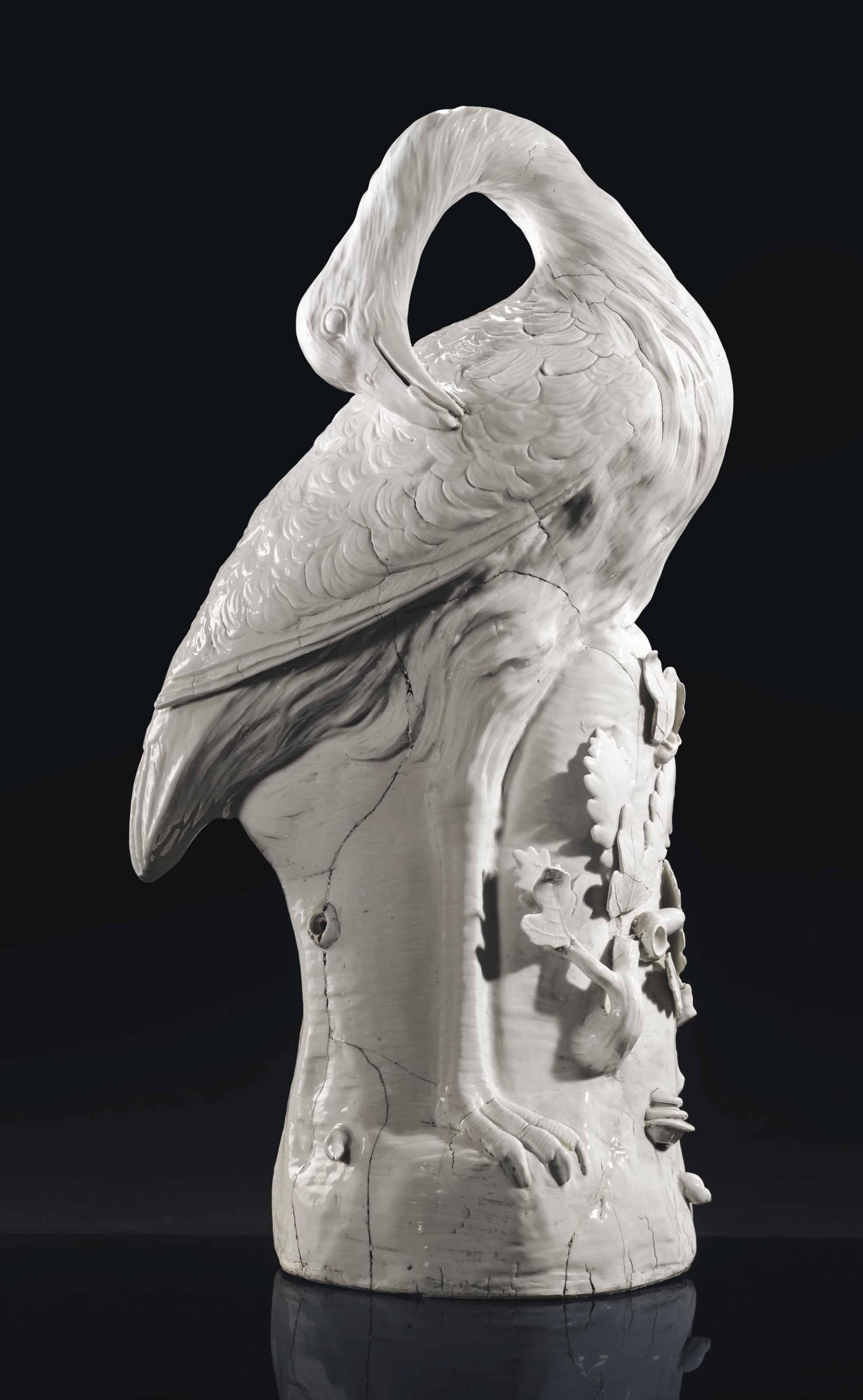 A MEISSEN WHITE MODEL OF A GREAT BUSTARD (OTIS TARDA)