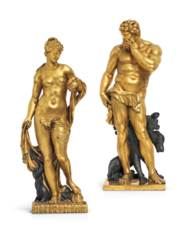 A PAIR OF LARGE PARCEL-GILT BR