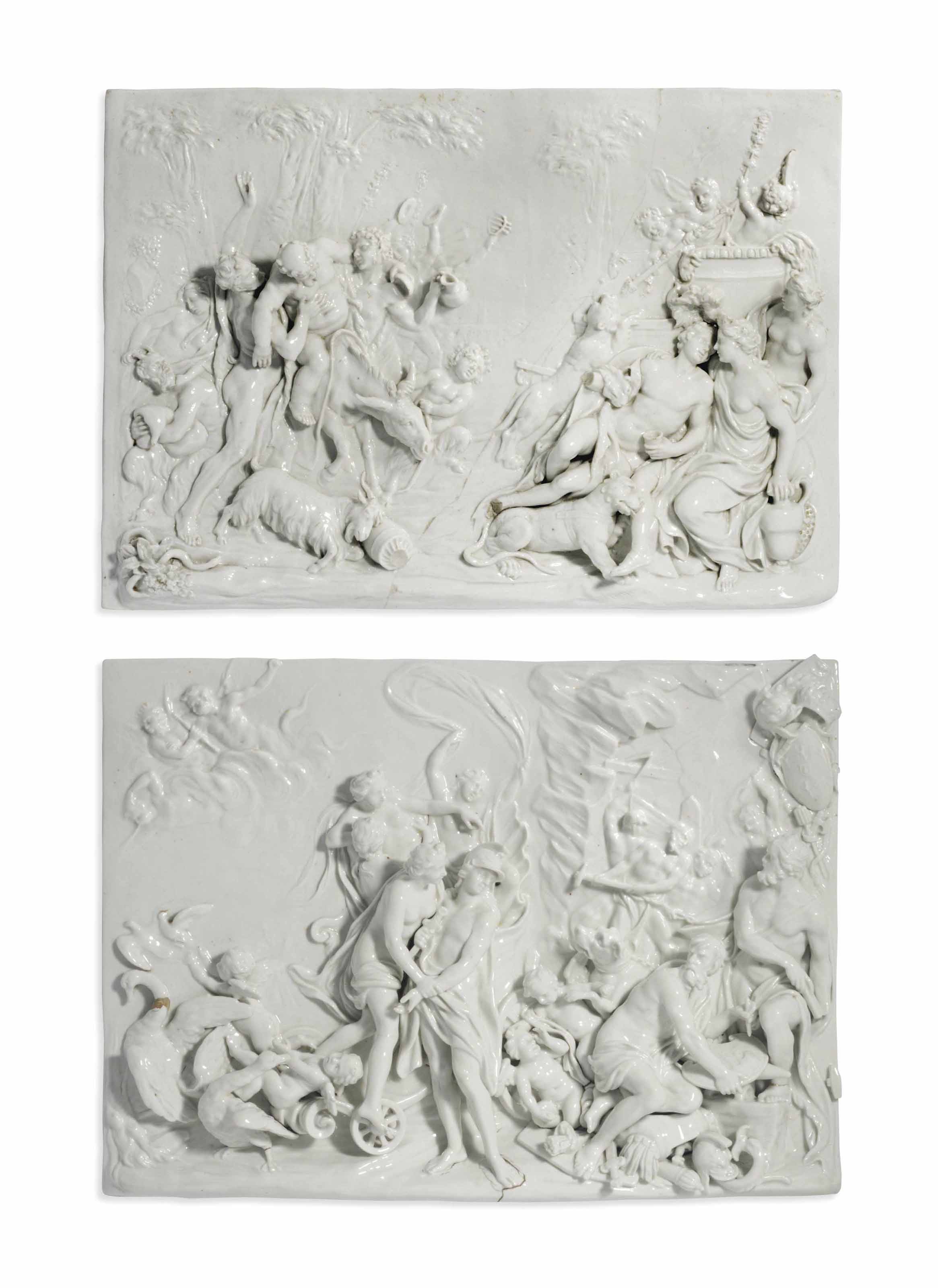 TWO DOCCIA WHITE PORCELAIN LARGE HIGH-RELIEF PLAQUES EMBLEMATIC OF AUTUMN AND WINTER