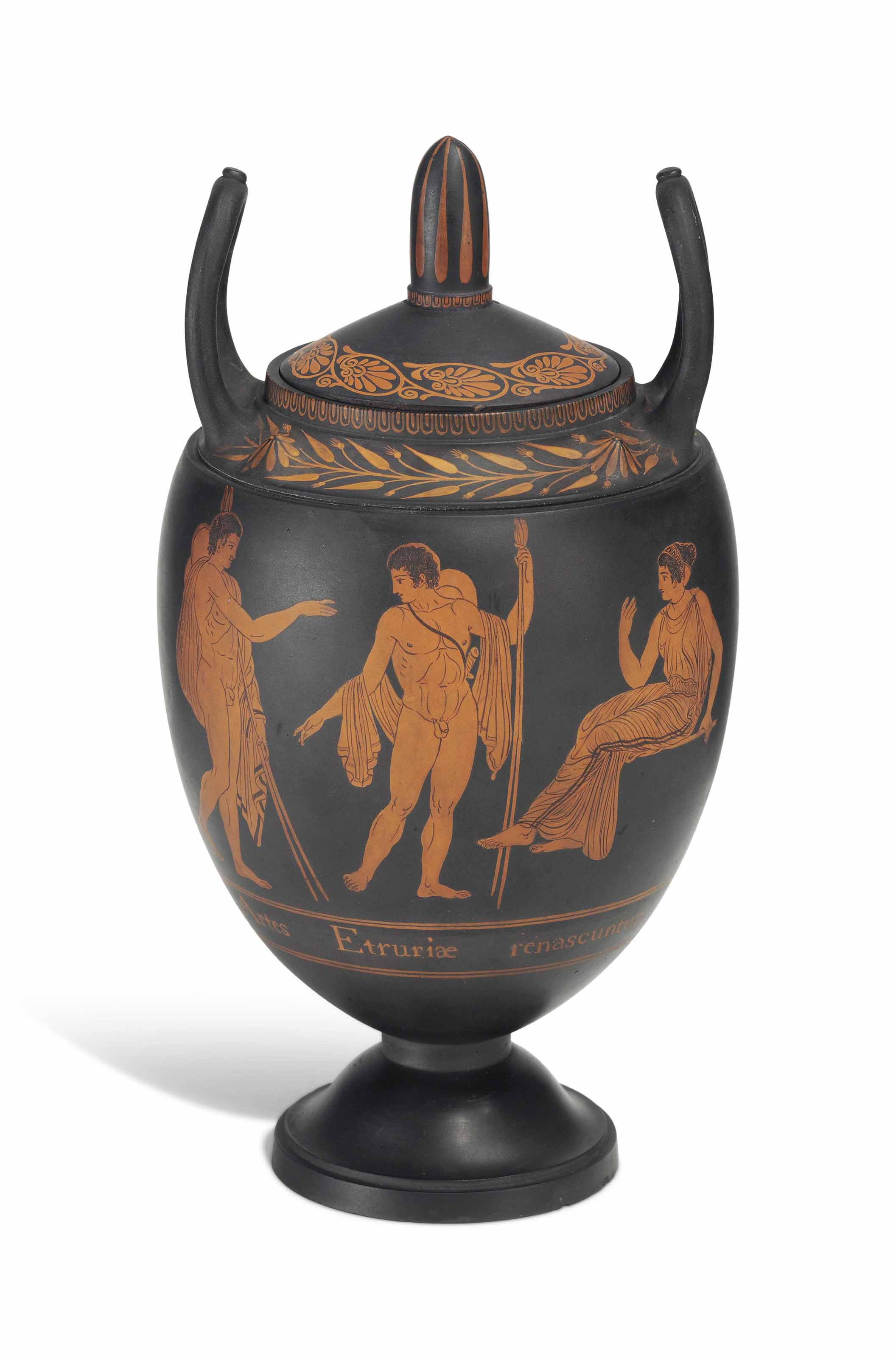 A WEDGWOOD BLACK 'BASALTES' ENCAUSTIC-DECORATED 'FIRST DAY'S VASE'