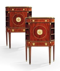 A PAIR OF GERMAN ORMOLU-MOUNTED MAHOGANY SECRETAIRES A ABATTANT