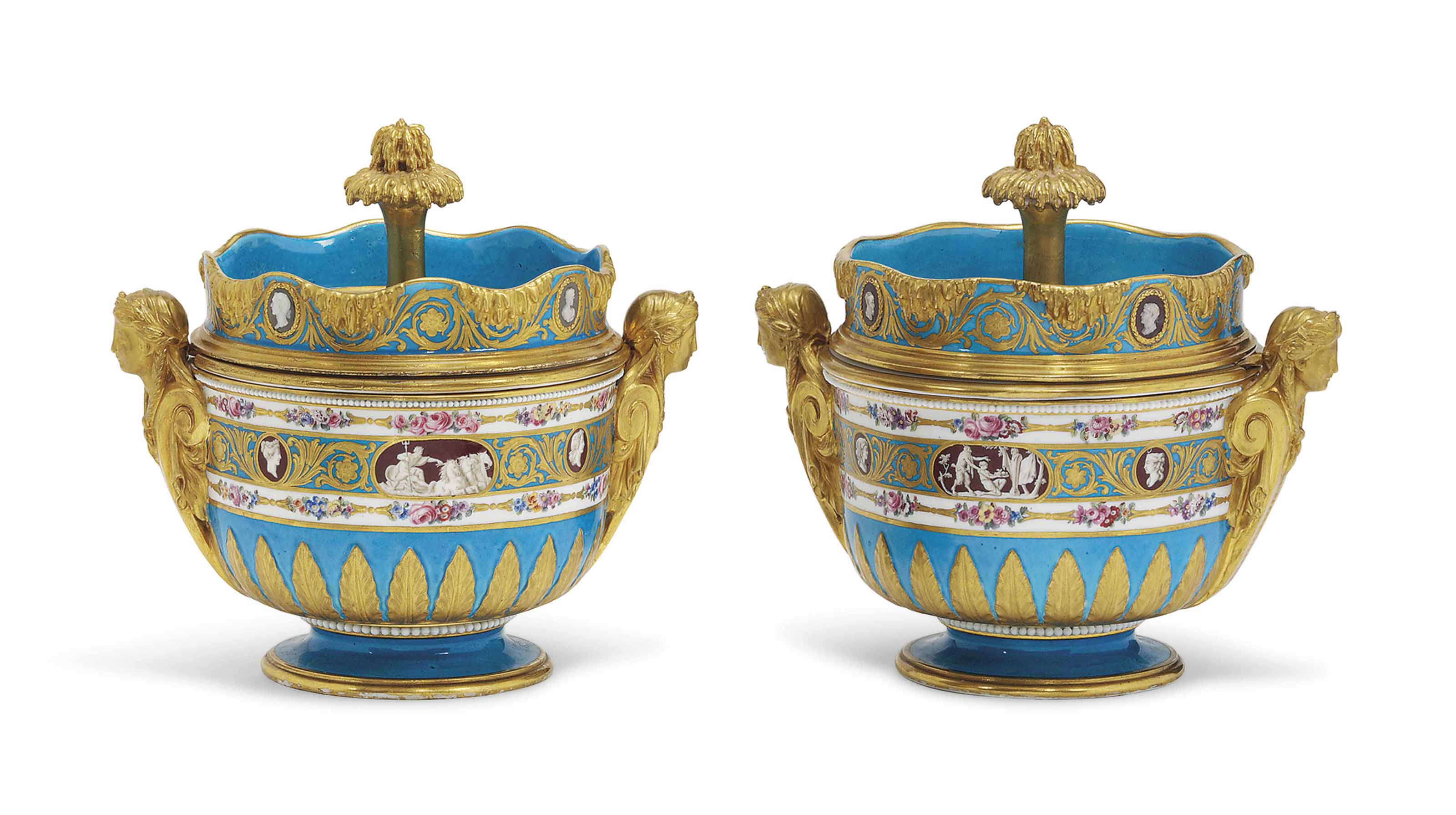 A PAIR OF SEVRES TWO-HANDLED BLEU CELESTE ICE-PAILS, COVERS AND LINERS (SEAUX 'A GLACE') FROM THE CATHERINE THE GREAT SERVICE