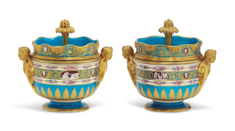 A pair of Sevres two-handled bleu celeste ice-pails, covers and liners (seaux 'a glace') from the Catherine the Great Service, circa 1778-1779.  One with blue interlaced l marks enclosing date letters AA, FB for Francois-Marie Barrat, B for Jean-Pierre Boulanger and grey LG for Le Guay, the other with mauve interlaced l mark and LG for Le Guay, both liners with mauve interlaced l marks and LG