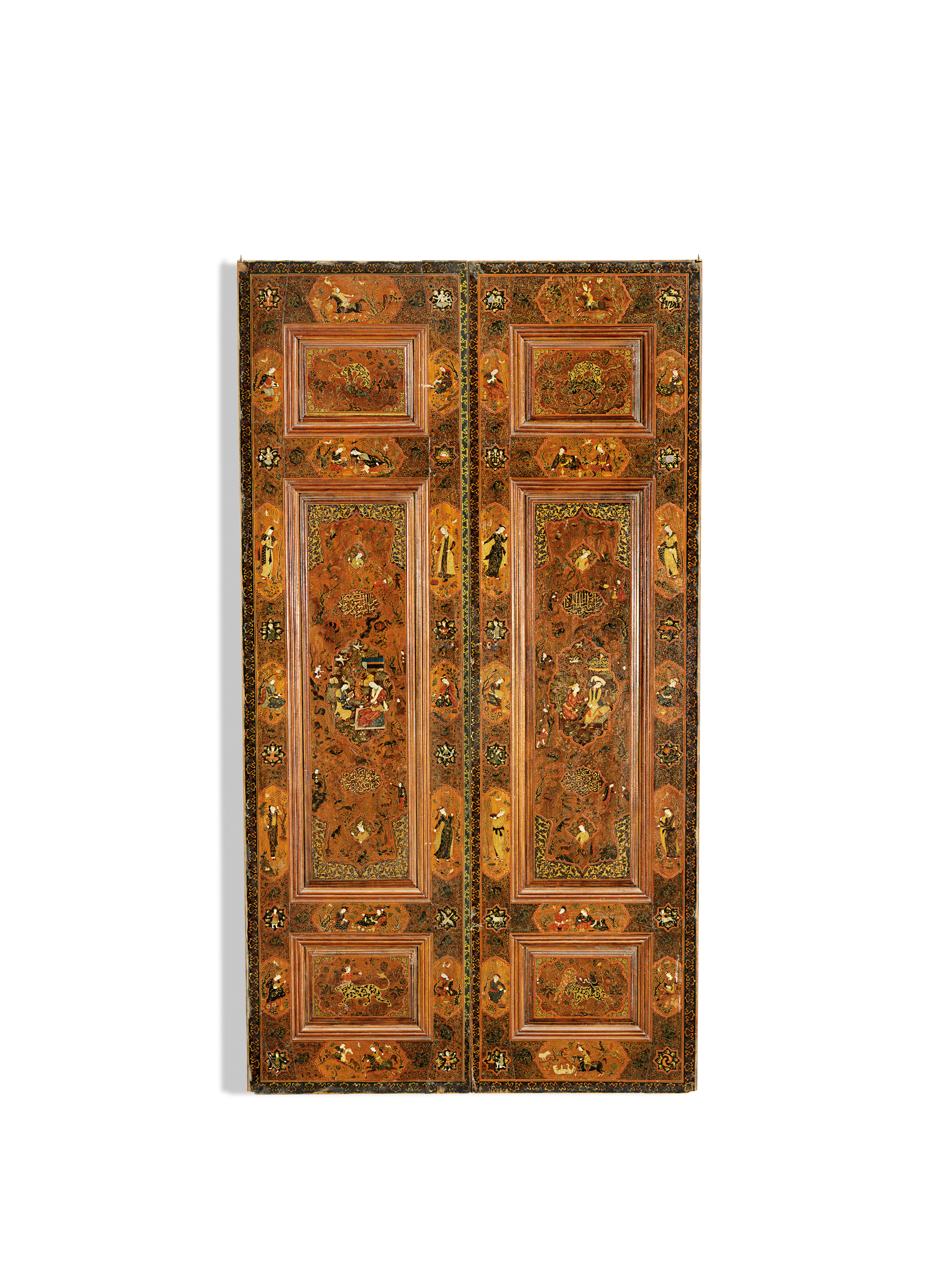 A PAIR OF QAJAR PAINTED AND GESSO APPLIED WOODEN DOORS