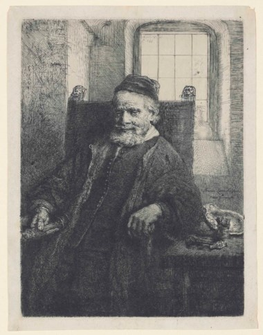 Rembrandt Harmensz. van Rijn, Jan Lutma, Goldsmith, 1656. Etching, engraving and drypoint on Japan paper. Plate 199 x 147 mm, Sheet 215 x 165 mm. Sold for £30,000 on 5 July 2016 at Christie's in London