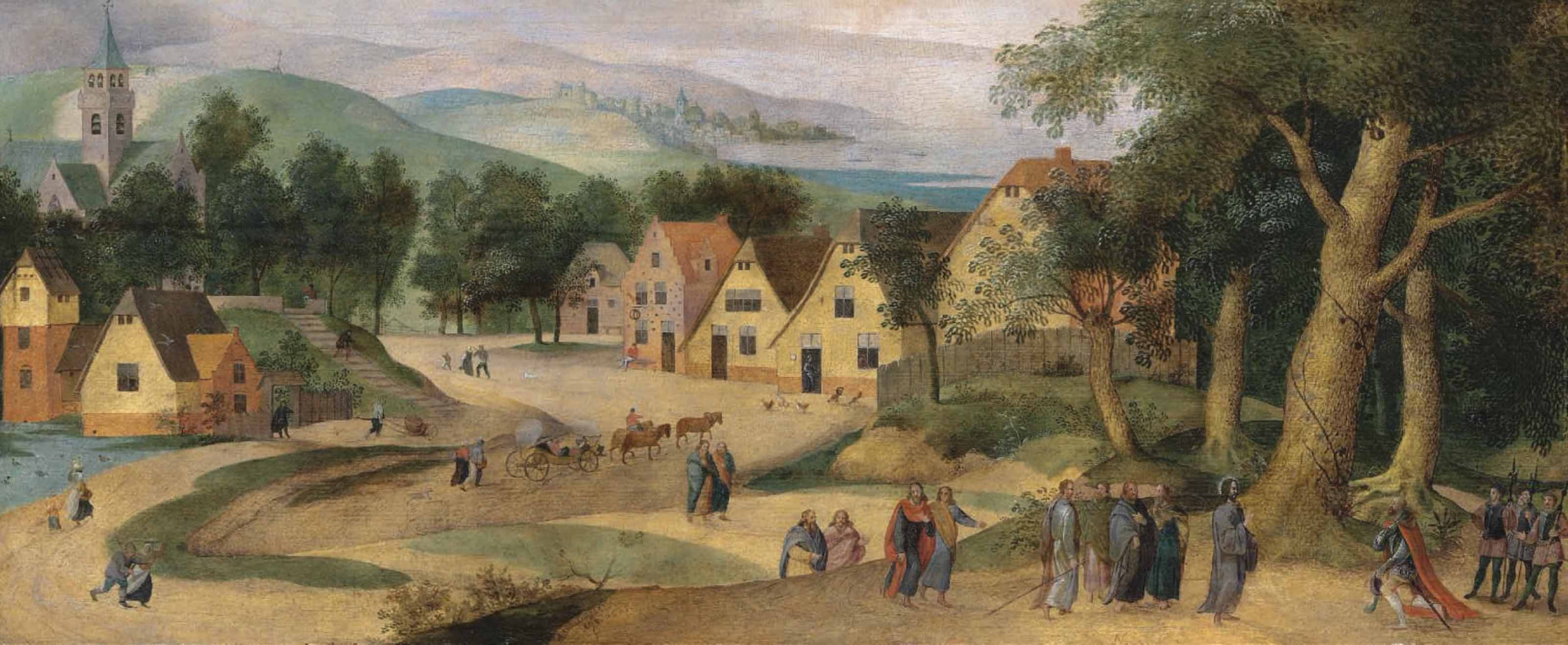 A village landscape with Christ and the Centurion