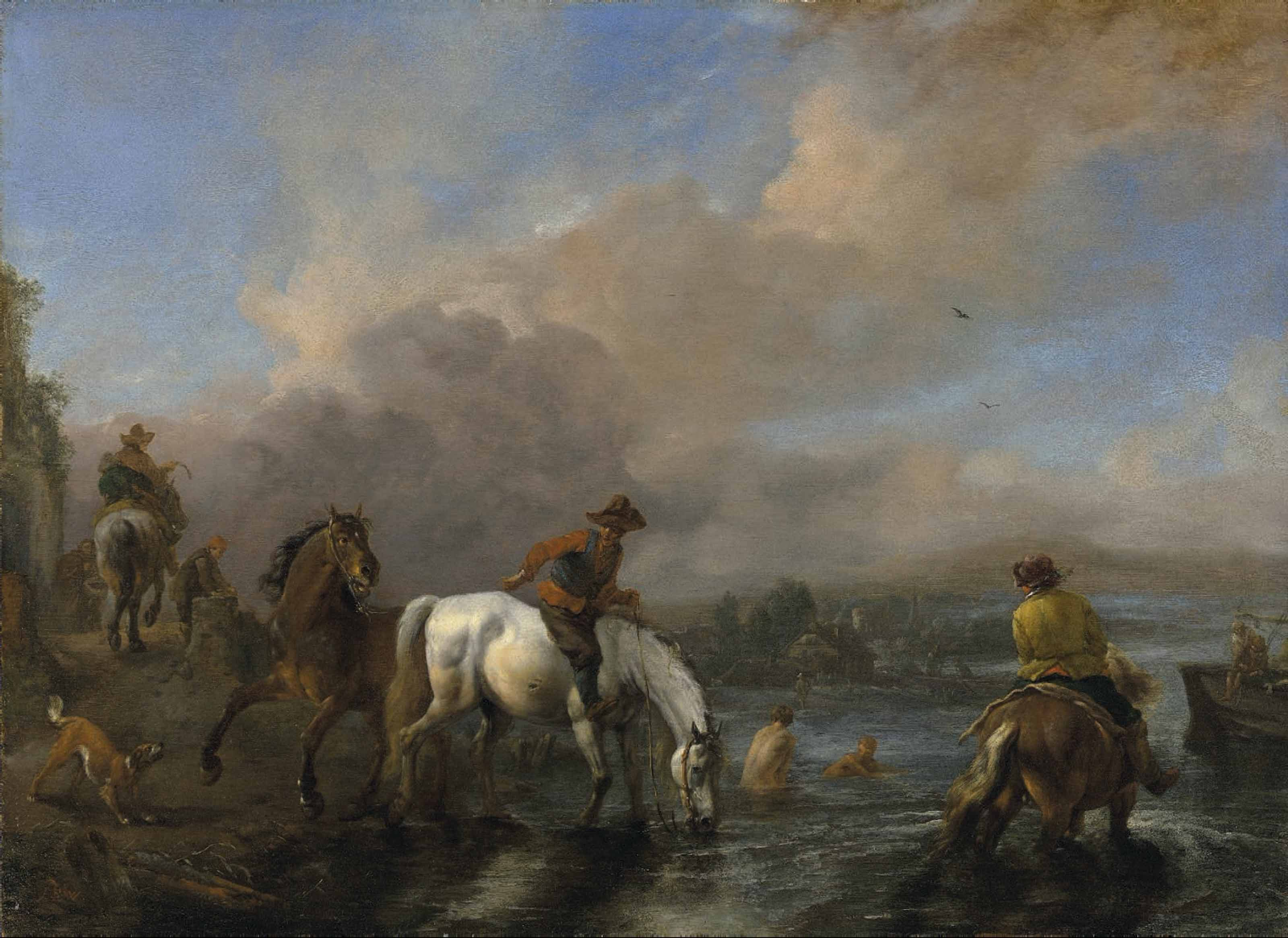 A river landscape with riders watering horses