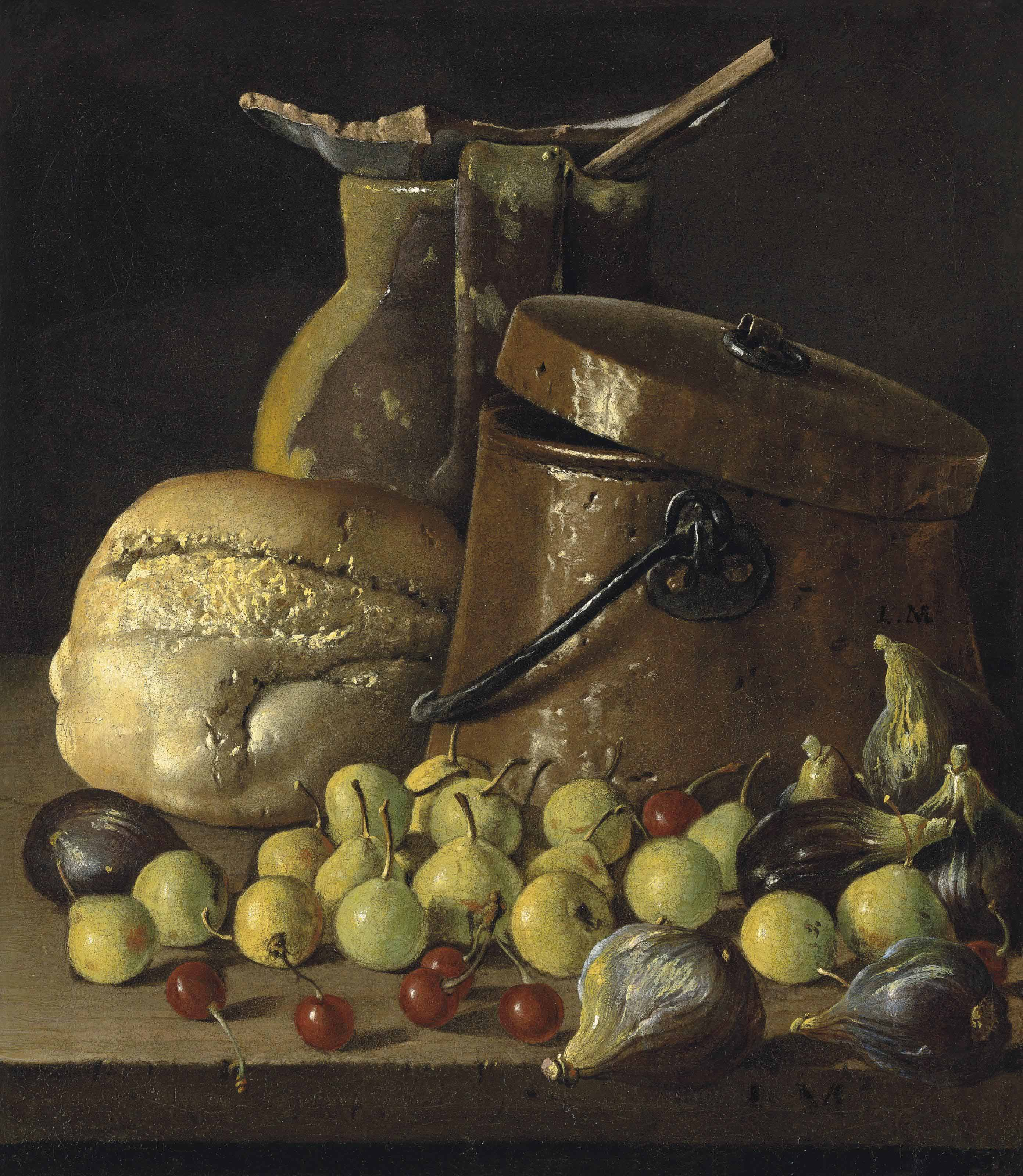 An earthenware pitcher and copper pail, with a bread roll, figs, quinces and cherries on a stone ledge