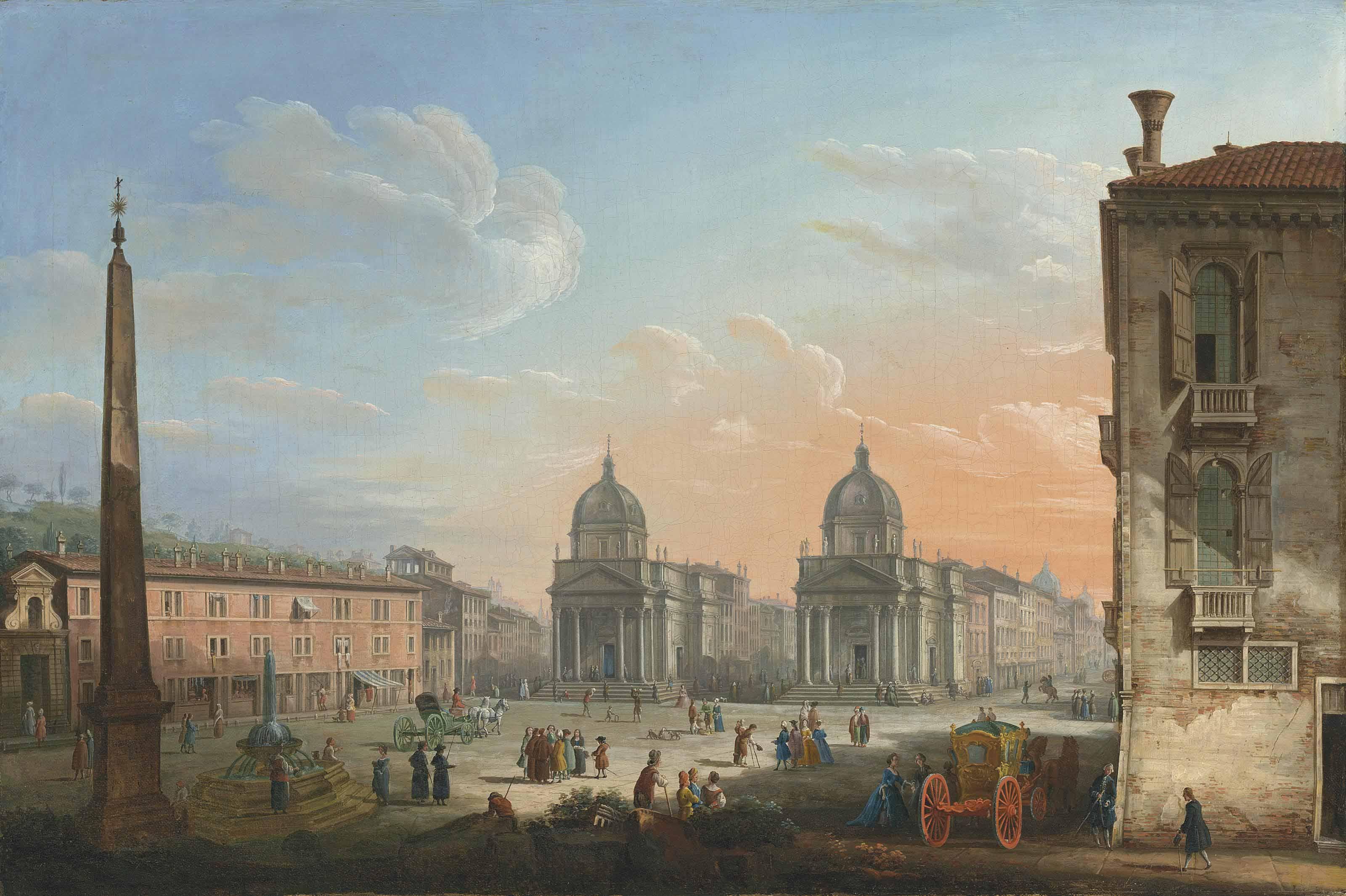 The Piazza del Popolo, Rome, looking towards the churches of Santa Maria di Montesanto and Santa Maria dei Miracoli
