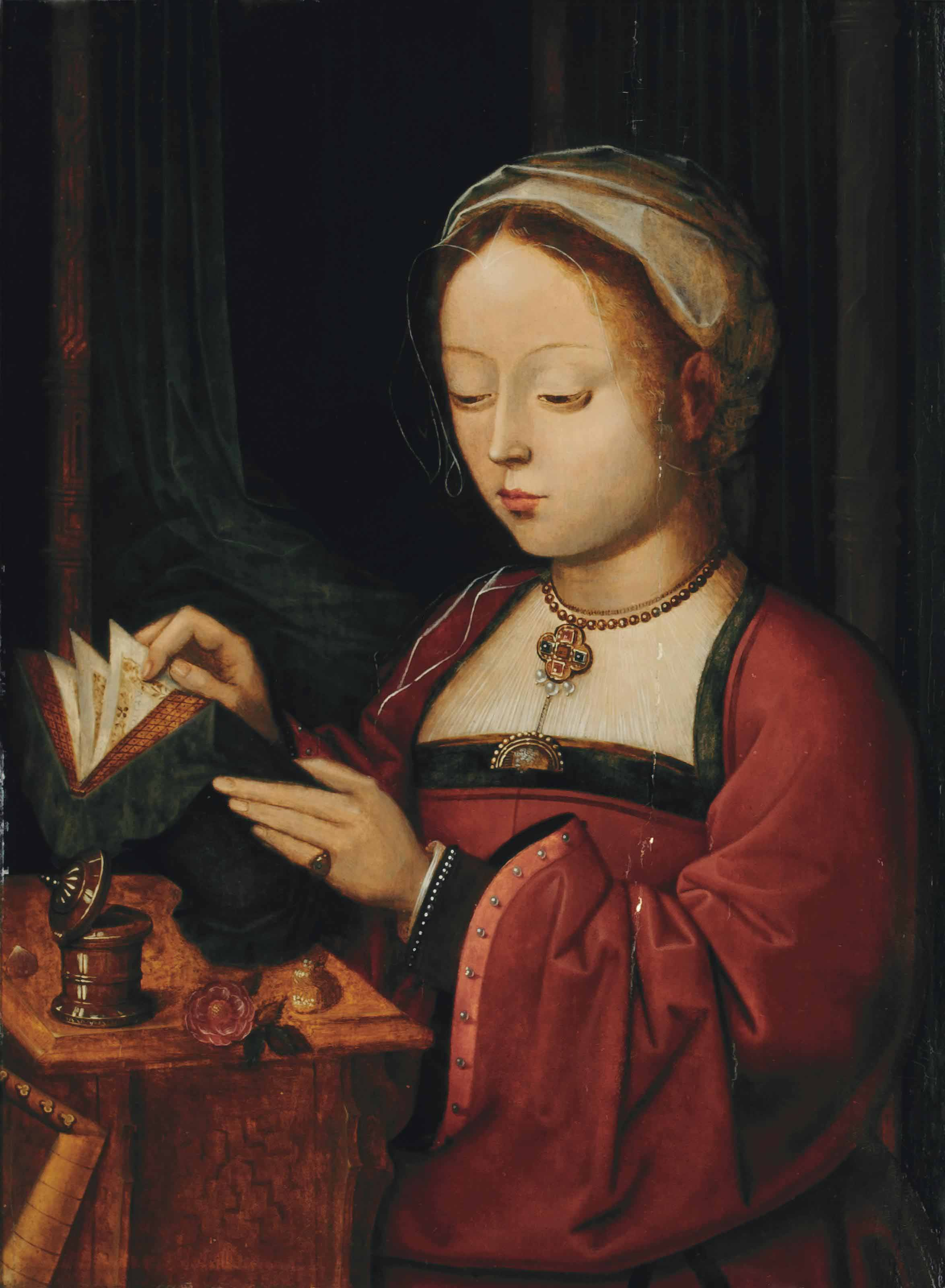 Saint Mary Magdalene reading at a table, with a red rose before her