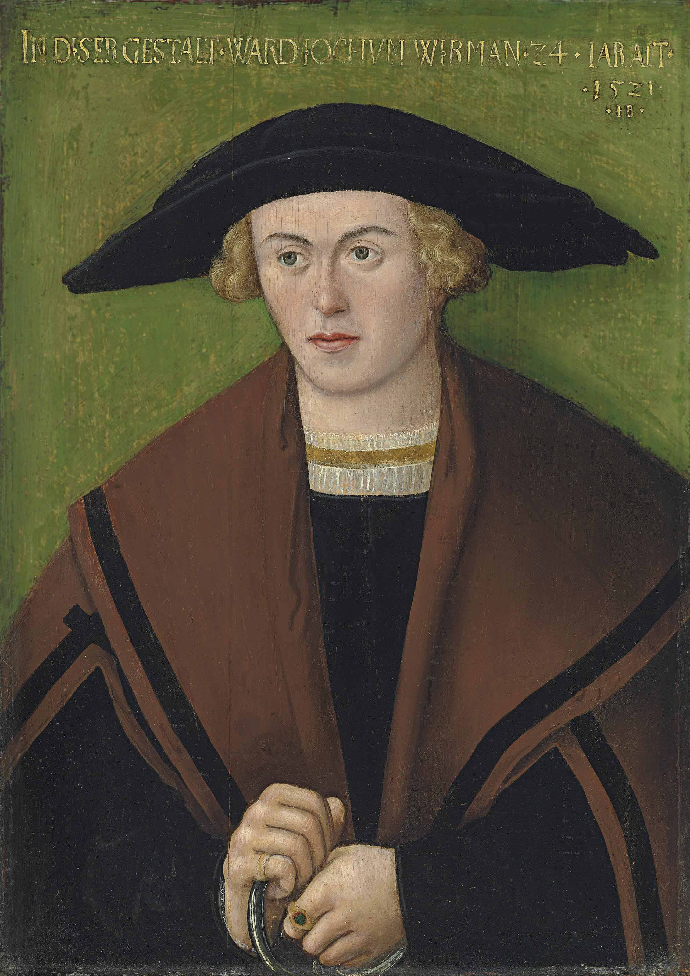 Portrait of Jochum Wirman, half-length, in black robes and a brown cloak, wearing a hat