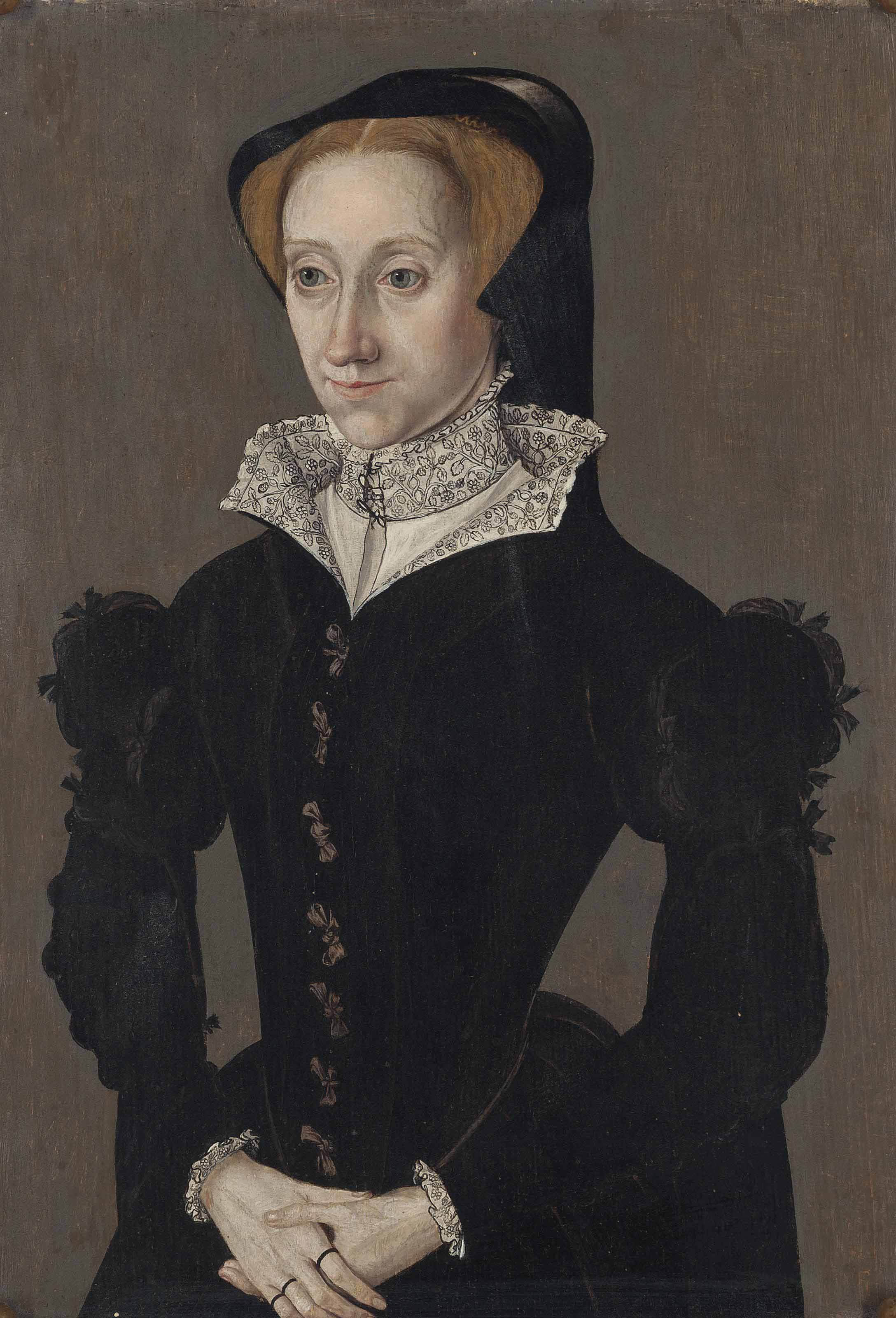 Portrait of a lady, three-quarter length, in a black gown with puffed upper sleeves and ribbon ties, with a blackwork collar lining and chemise, and a black hood