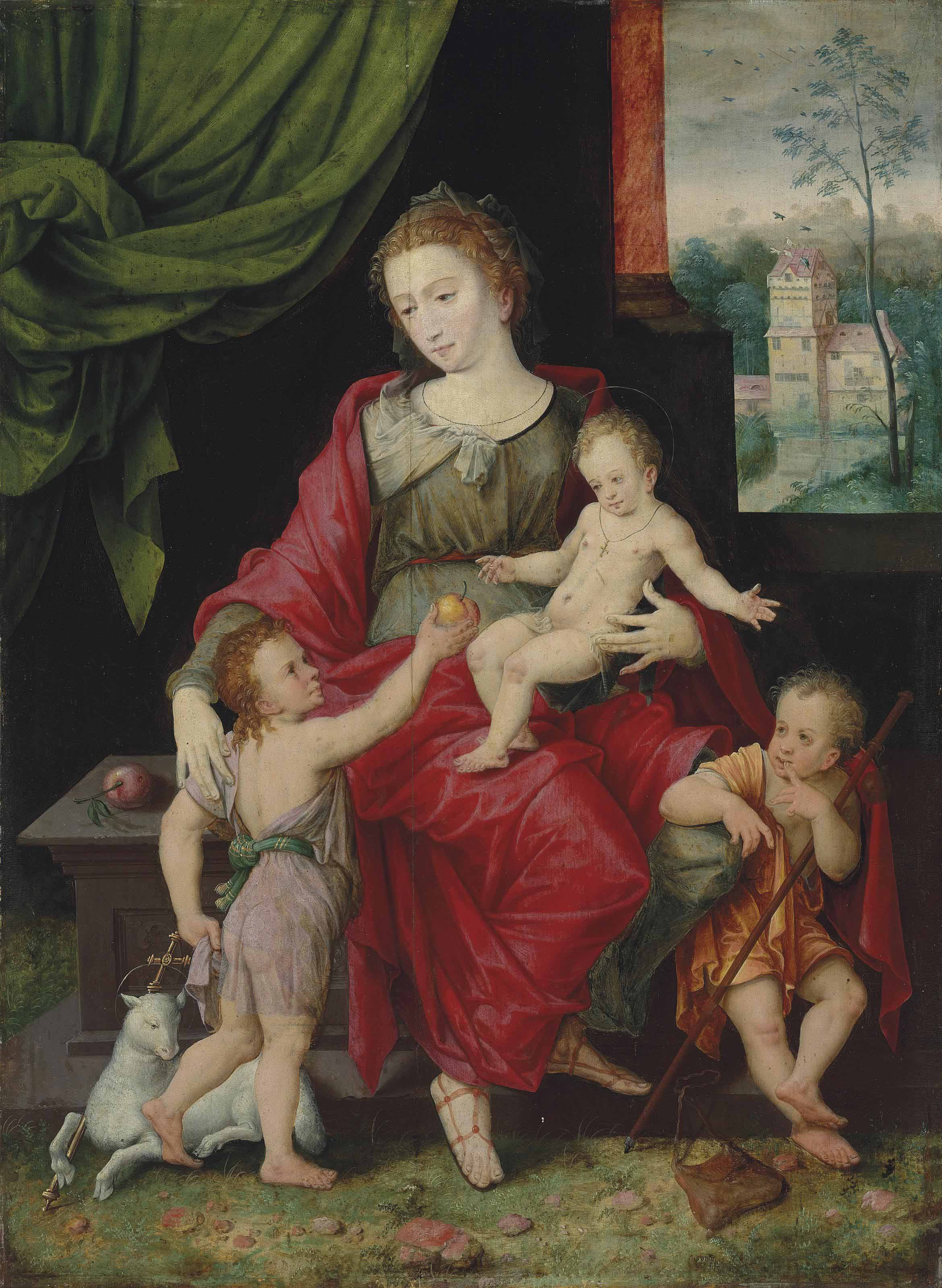 The Virgin and Child with the Infants Saint John the Baptist and James, before a draped curtain, a landscape beyond
