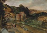 An extensive Italianate landscape with the calling of Cincinnatus from the plough, a view of Rome beyond