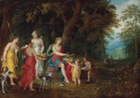 Diana and her maidens after the hunt, in a wooded landscape