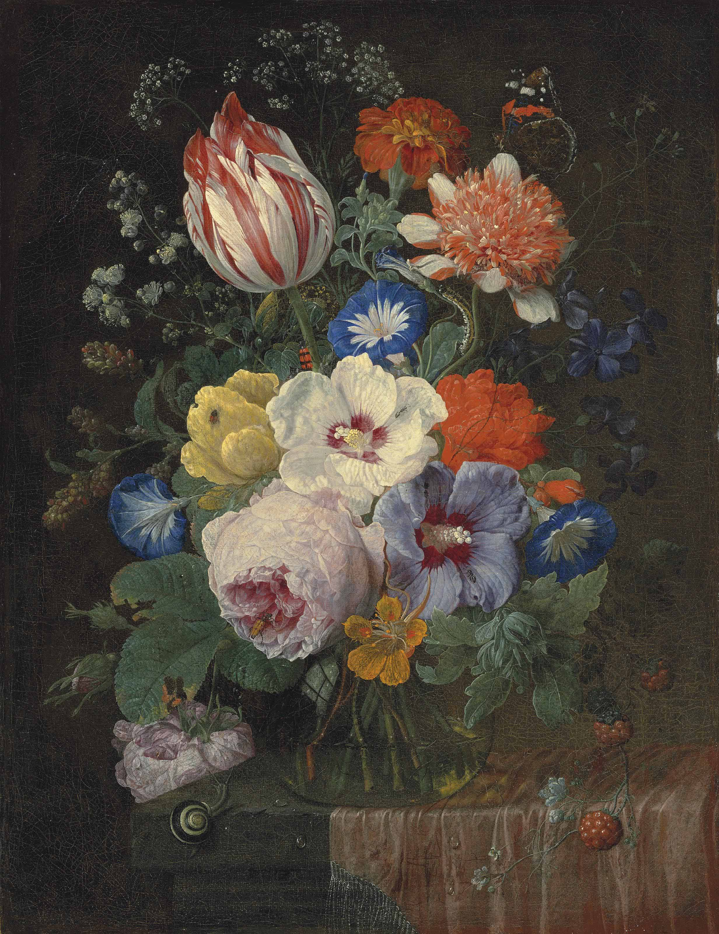 Peonies, carnations, morning glory, a Semper Augustus tulip and other flowers in a glass vase, with a snail, a butterfly, a dragonfly and other insects on a partially-draped ledge