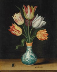 Semper Augustus tulips in a Wan-Li vase, with a caterpillar and a bluebottle fly, on a ledge