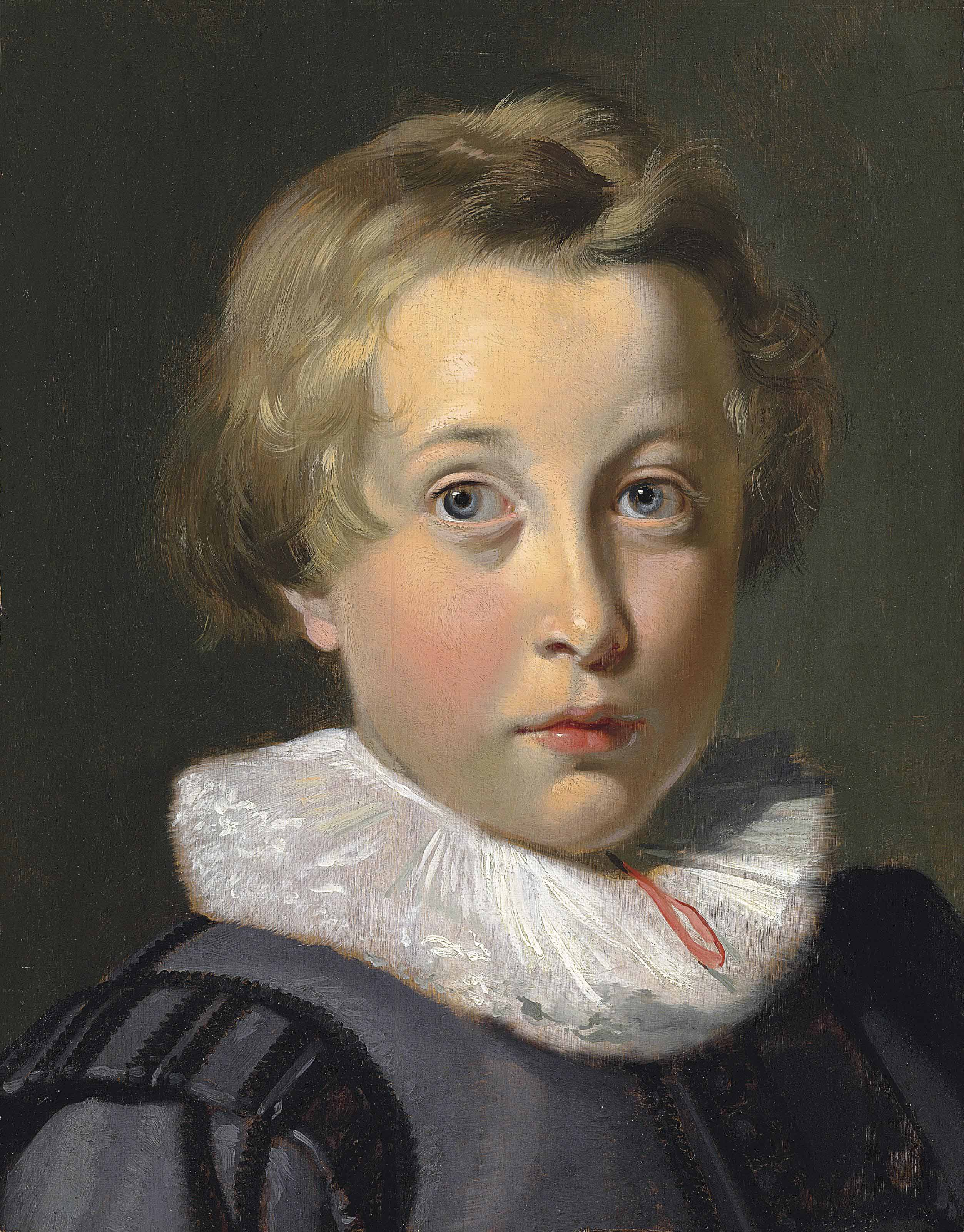 Portrait of a boy, bust-length, in a grey patterned doublet and ruff