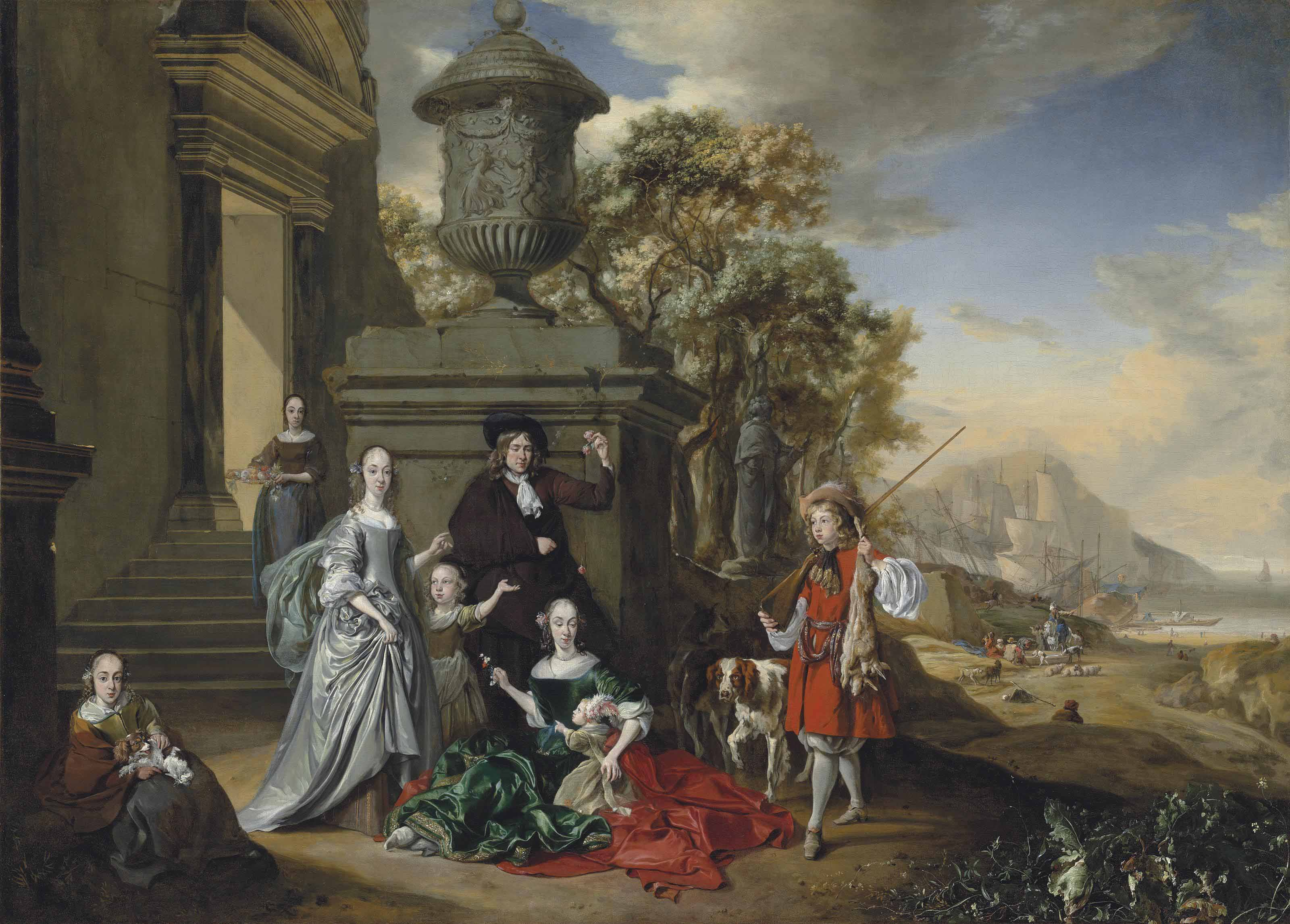 A group portrait of an elegantly dressed family by a classical building, with a boy approaching, holding game and a rifle, a coastal landscape beyond