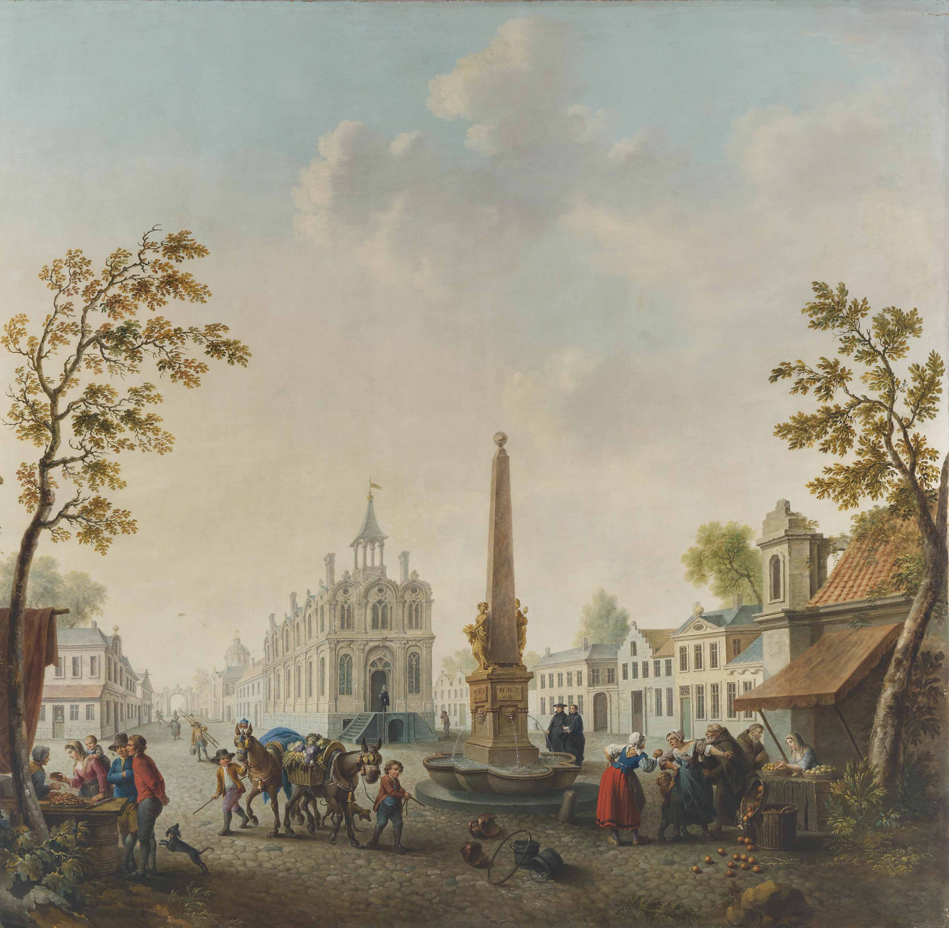 A continental town square with street vendors by a fountain and boys leading mules with flower baskets